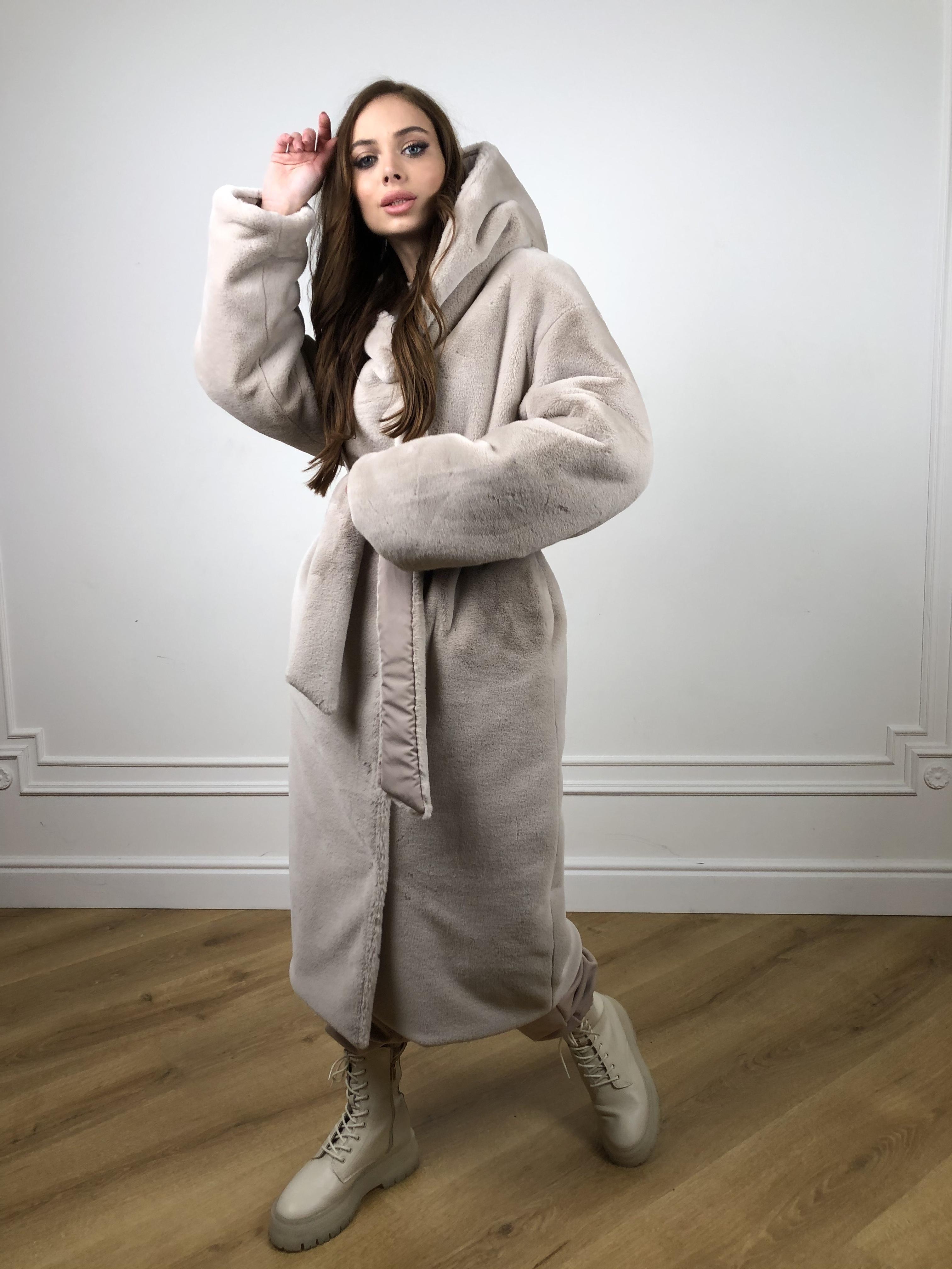 Сноу мех искуственный кролик   плащевка Канада зима пальто 10346 АРТ. 46646 Цвет: Св.серый/Кофе - фото 8, интернет магазин tm-modus.ru