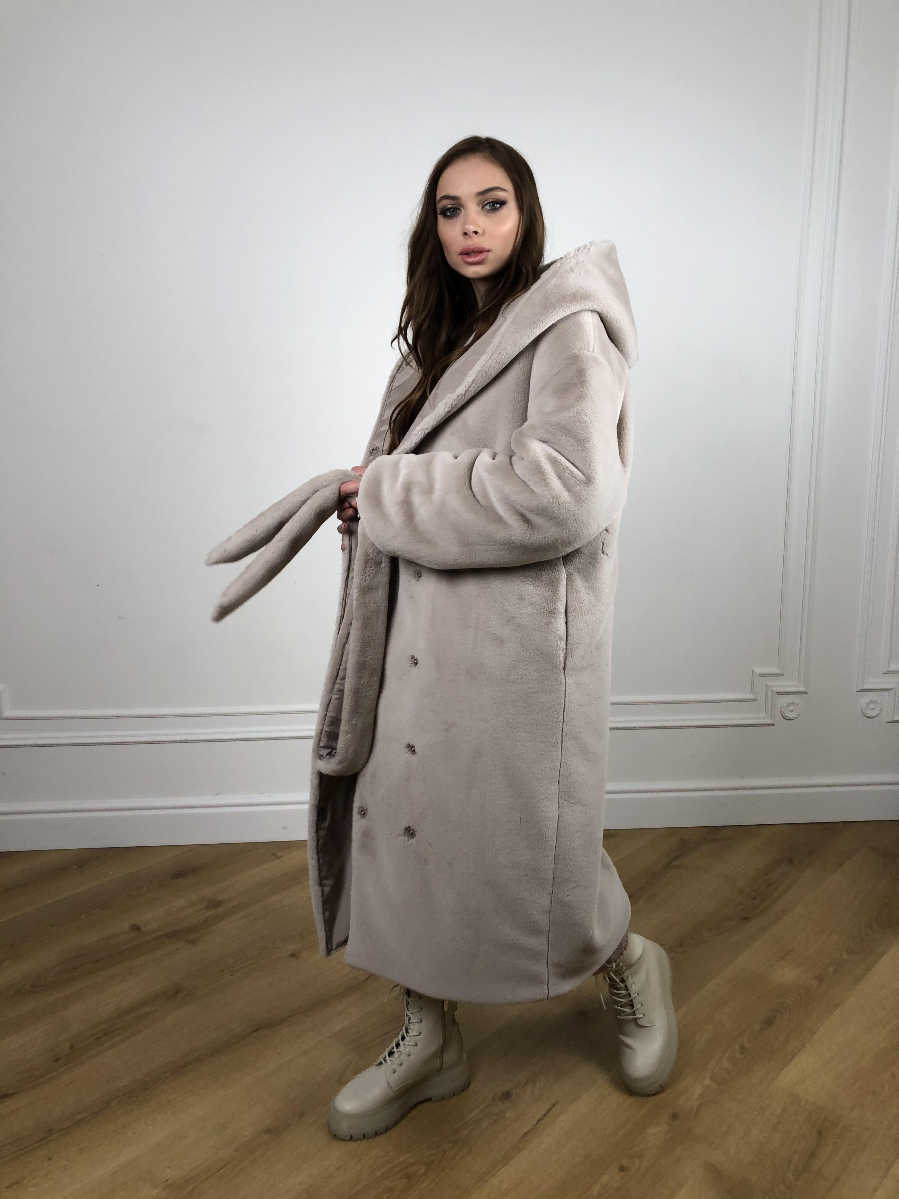 Сноу мех искуственный кролик   плащевка Канада зима пальто 10346 АРТ. 46646 Цвет: Св.серый/Кофе - фото 9, интернет магазин tm-modus.ru