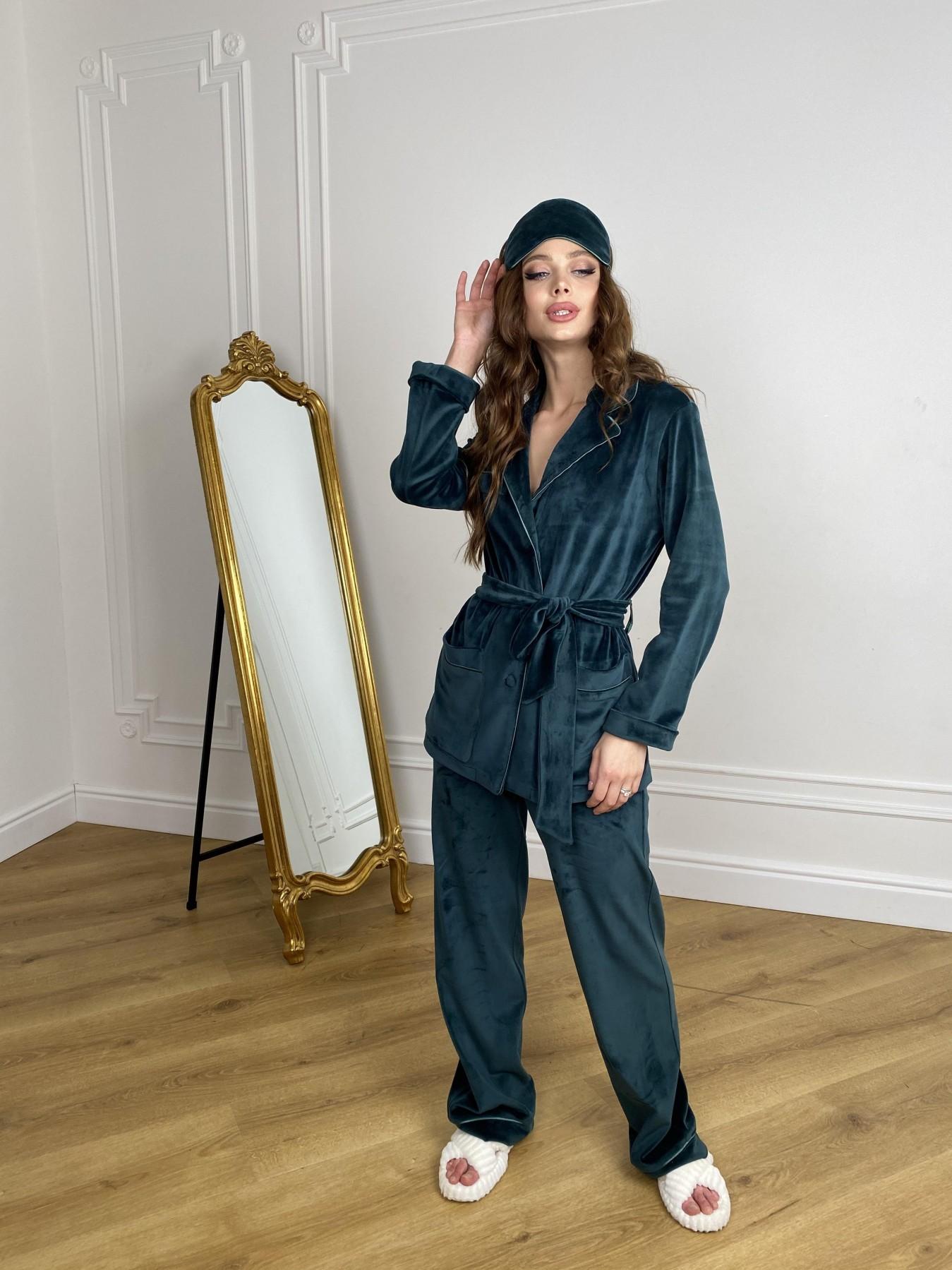 Шайн пижама велюр жакет брюки маска для сна 10353 АРТ. 46847 Цвет: Изумруд - фото 7, интернет магазин tm-modus.ru