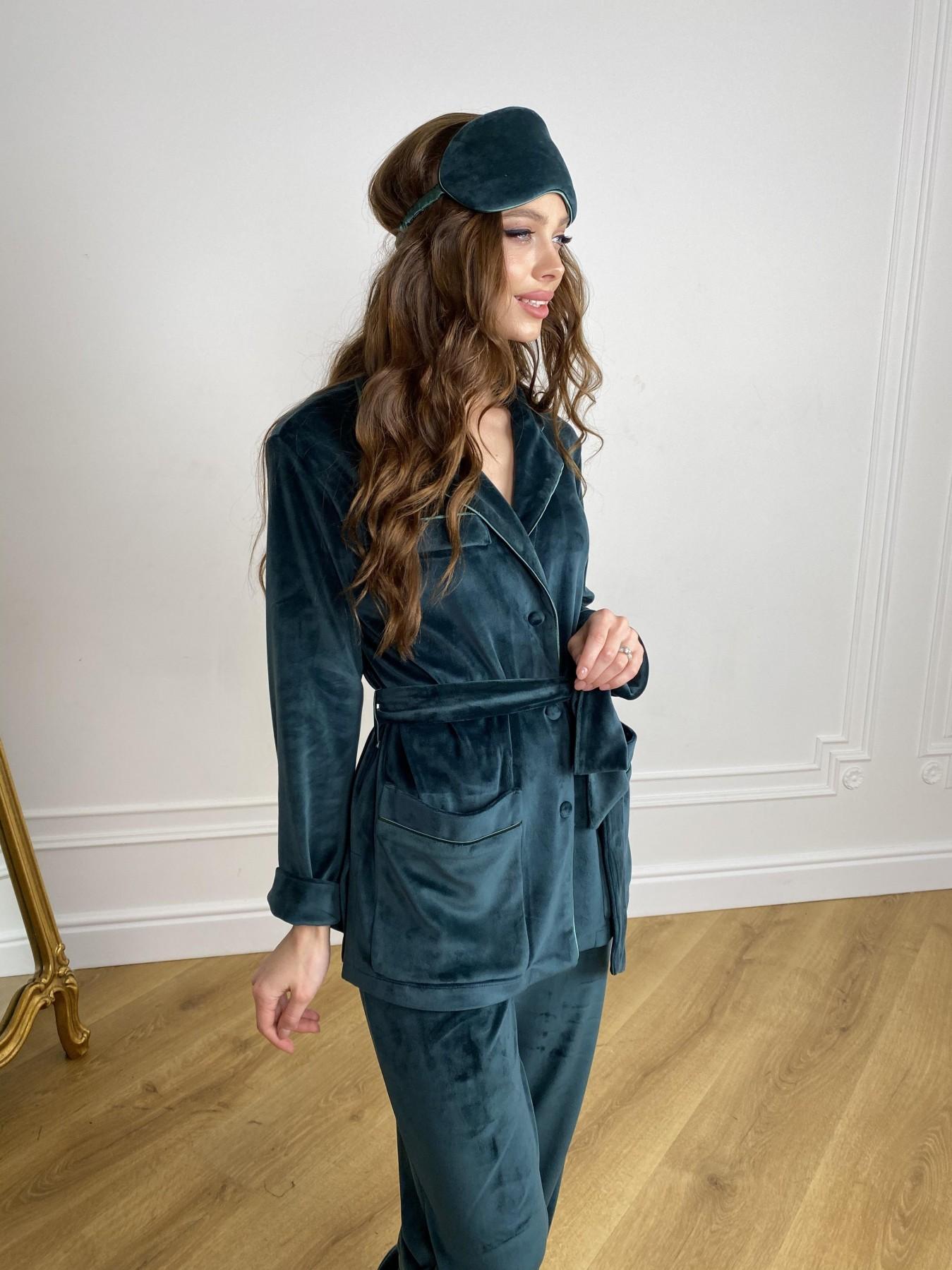 Шайн пижама велюр жакет брюки маска для сна 10353 АРТ. 46847 Цвет: Изумруд - фото 8, интернет магазин tm-modus.ru
