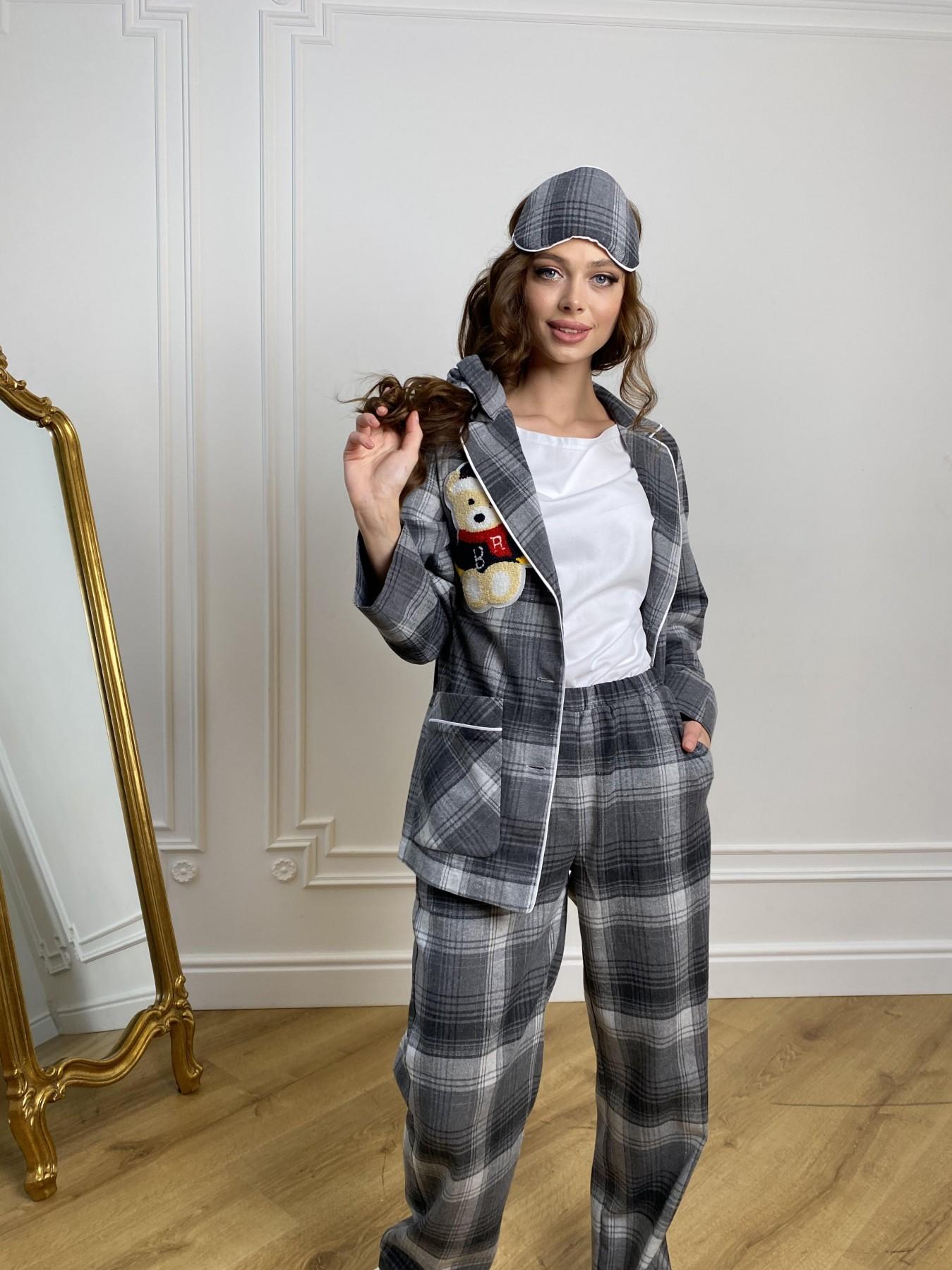 Тедди пижама в клетку из коттона(жакет,футболка,брюки,маска,резинка) 10384 АРТ. 46910 Цвет: Т.серый/серый - фото 1, интернет магазин tm-modus.ru