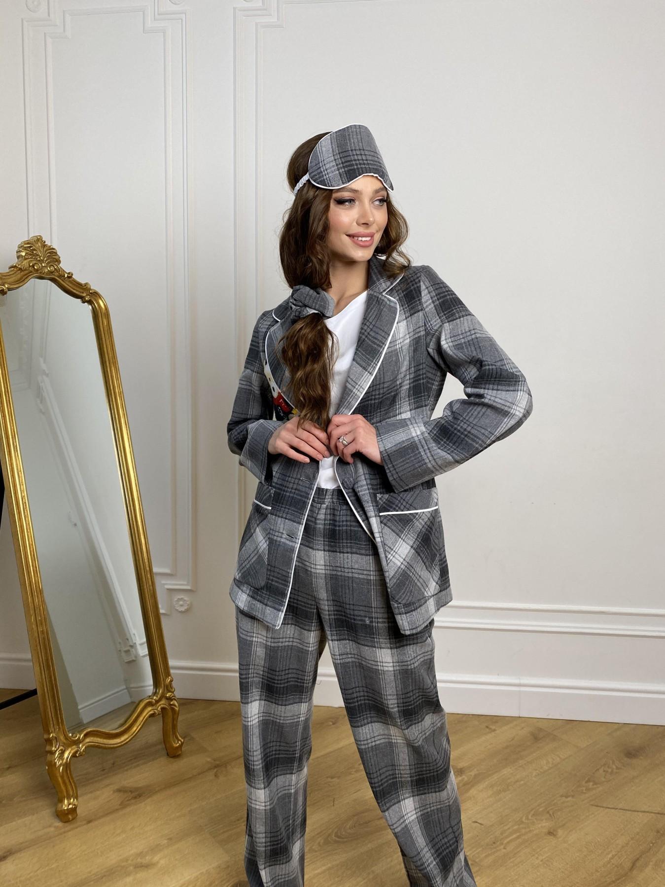 Тедди пижама в клетку из коттона(жакет,футболка,брюки,маска,резинка) 10384 АРТ. 46910 Цвет: Т.серый/серый - фото 2, интернет магазин tm-modus.ru