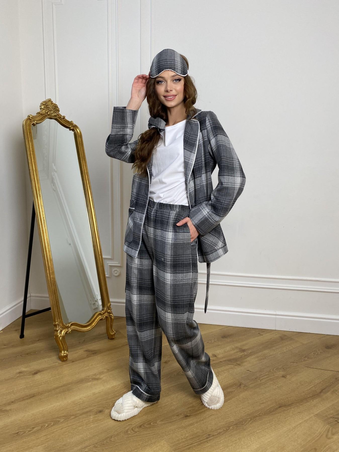 Тедди пижама в клетку из коттона(жакет,футболка,брюки,маска,резинка) 10384 АРТ. 46910 Цвет: Т.серый/серый - фото 4, интернет магазин tm-modus.ru