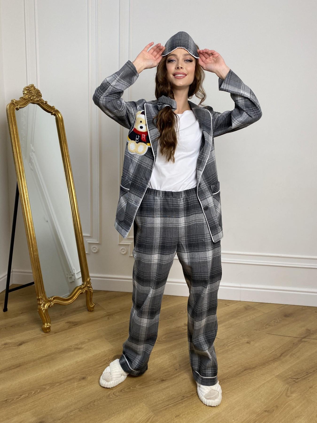 Тедди пижама в клетку из коттона(жакет,футболка,брюки,маска,резинка) 10384 АРТ. 46910 Цвет: Т.серый/серый - фото 5, интернет магазин tm-modus.ru