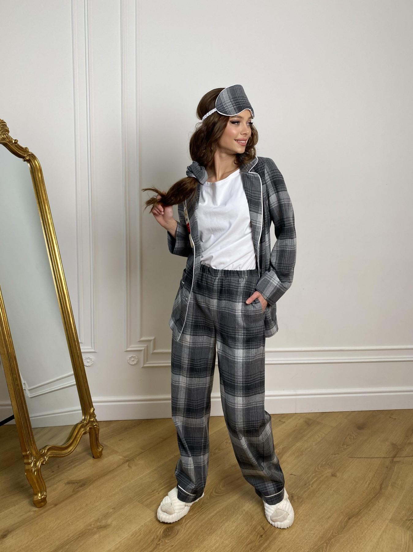 Тедди пижама в клетку из коттона(жакет,футболка,брюки,маска,резинка) 10384 АРТ. 46910 Цвет: Т.серый/серый - фото 6, интернет магазин tm-modus.ru
