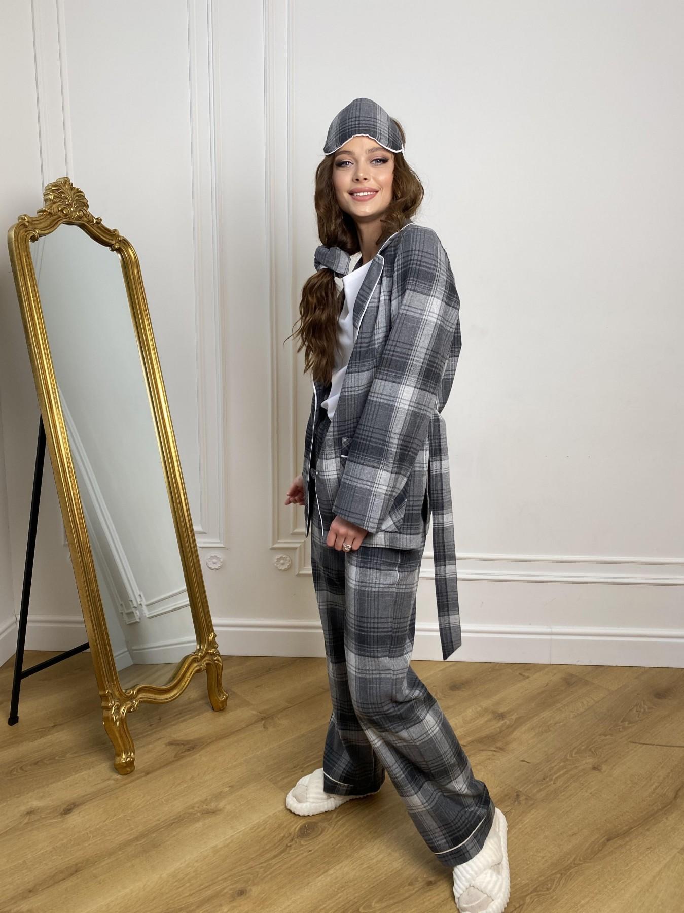 Тедди пижама в клетку из коттона(жакет,футболка,брюки,маска,резинка) 10384 АРТ. 46910 Цвет: Т.серый/серый - фото 7, интернет магазин tm-modus.ru