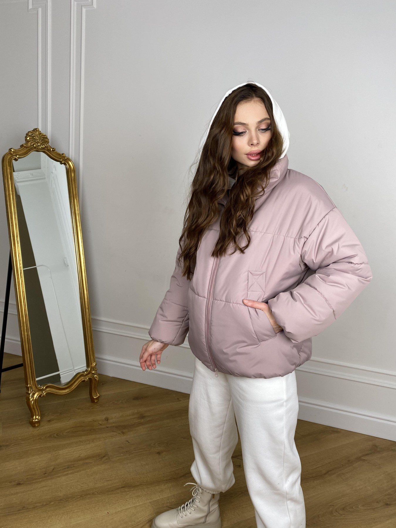 Муд куртка из плащевой ткани 10509 АРТ. 46917 Цвет: Пудра - фото 9, интернет магазин tm-modus.ru