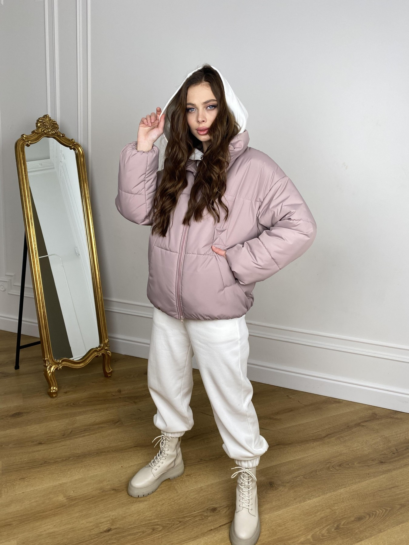 Муд куртка из плащевой ткани 10509 АРТ. 46917 Цвет: Пудра - фото 10, интернет магазин tm-modus.ru
