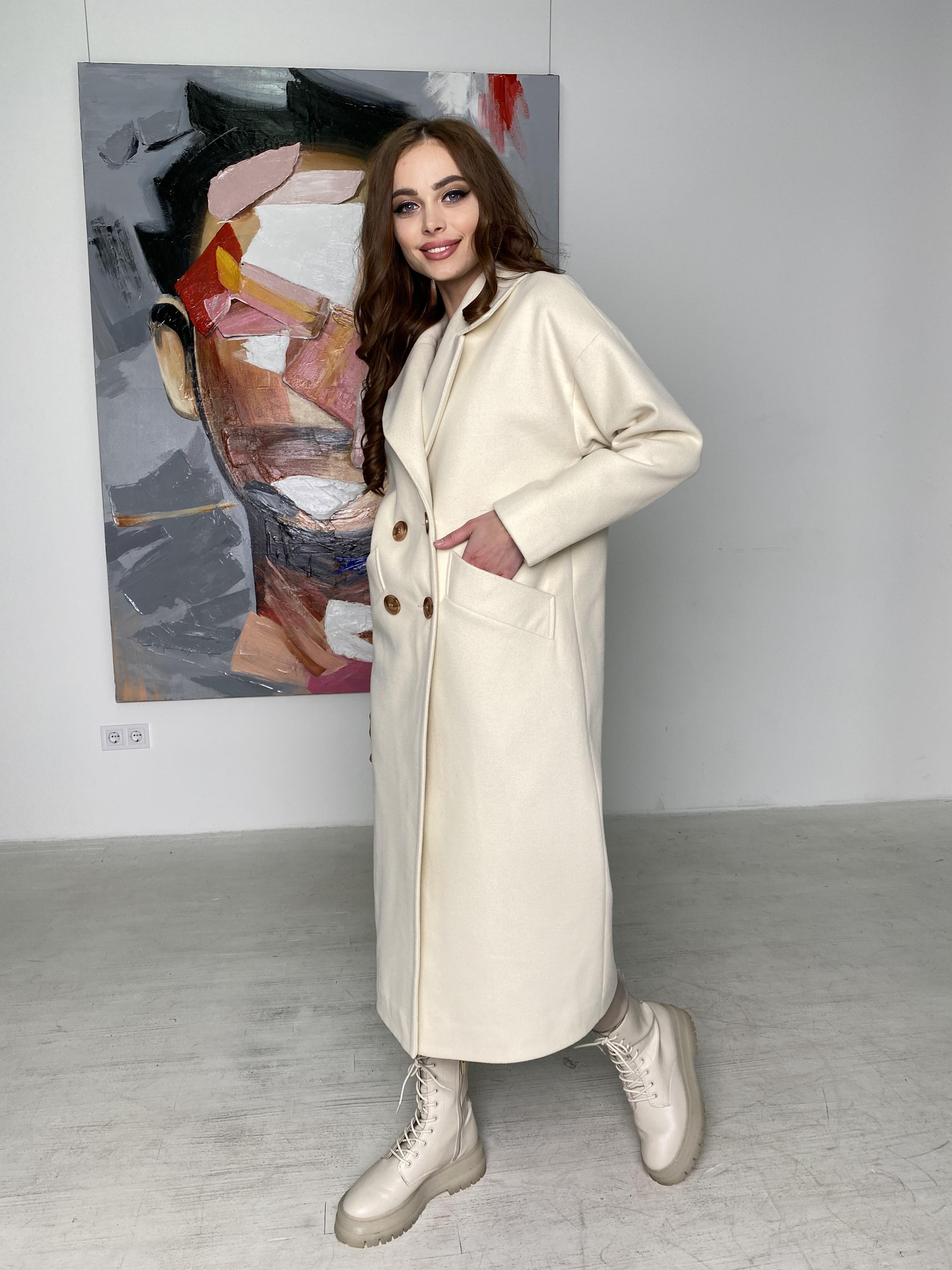 Сенсей пальто макси из кашемира   10309 АРТ. 46615 Цвет: молоко - фото 2, интернет магазин tm-modus.ru