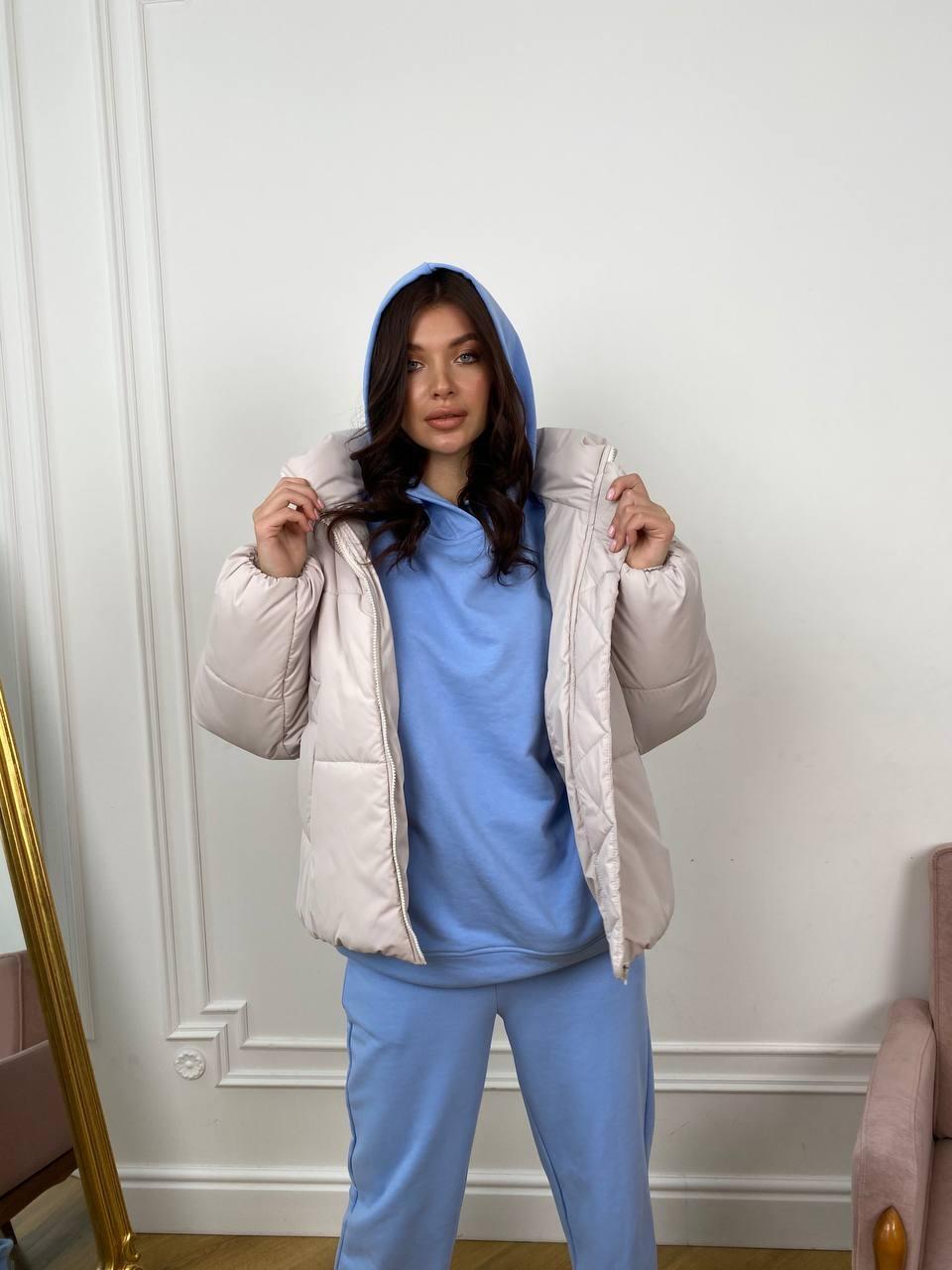 Муд куртка из плащевой ткани 10509 АРТ. 46918 Цвет: Молоко 970 - фото 1, интернет магазин tm-modus.ru