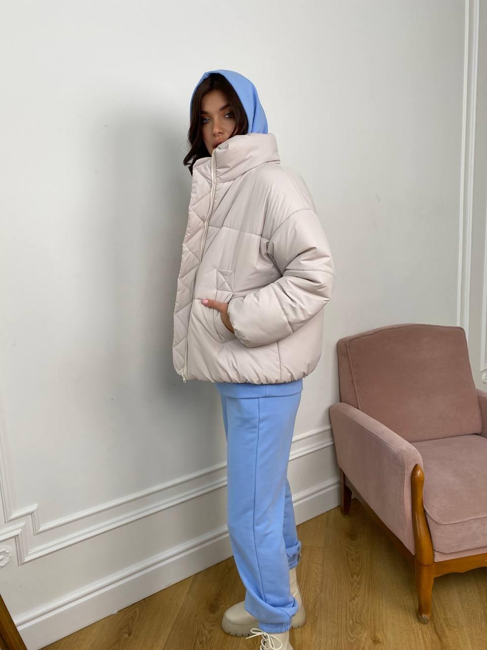 Муд куртка из плащевой ткани 10509 АРТ. 46918 Цвет: Молоко 970 - фото 5, интернет магазин tm-modus.ru