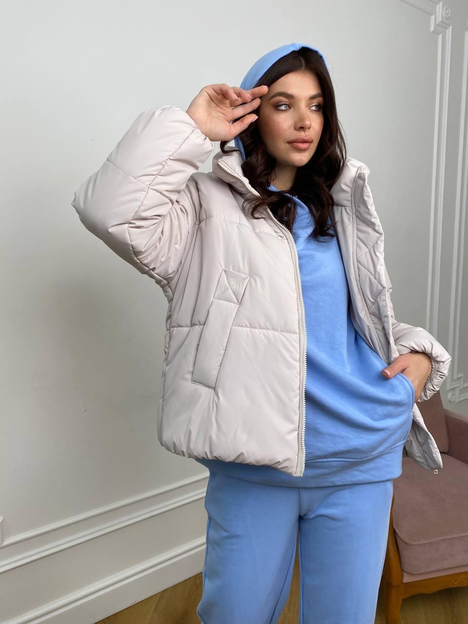 Муд куртка из плащевой ткани 10509 АРТ. 46918 Цвет: Молоко 970 - фото 4, интернет магазин tm-modus.ru