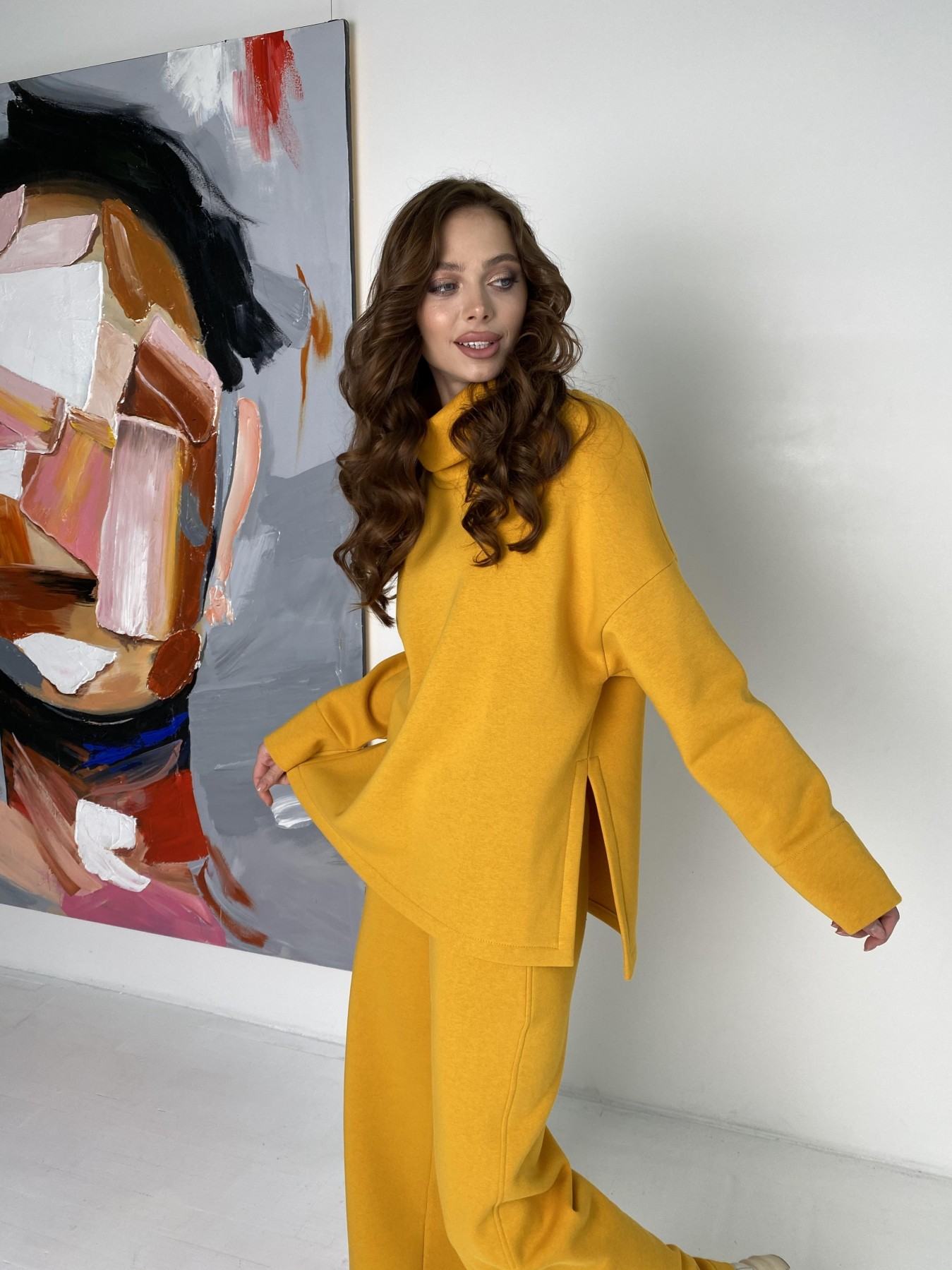 Джаст костюм на флисе 3х нитка 10513 АРТ. 47077 Цвет: Горчица - фото 2, интернет магазин tm-modus.ru