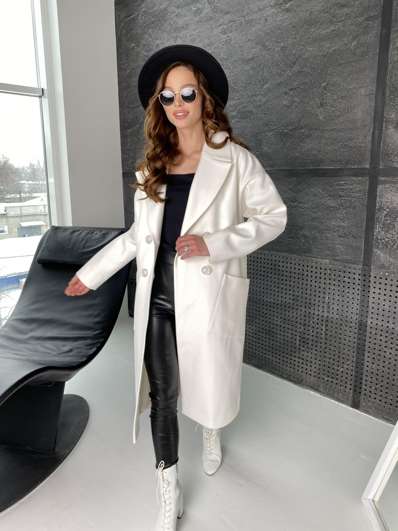 Свайп макси пальто из кашемира 10617 АРТ. 46996 Цвет: Молоко - фото 1, интернет магазин tm-modus.ru
