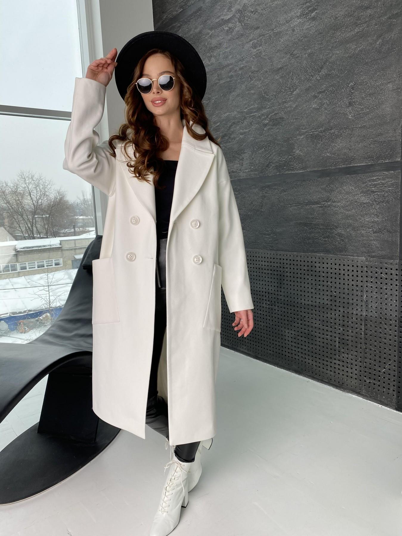 Свайп макси пальто из кашемира 10617 АРТ. 46996 Цвет: Молоко - фото 2, интернет магазин tm-modus.ru
