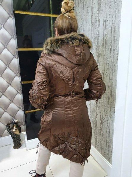 Купить Триумф Енот плащевка пальто Зима 10711 оптом и в розницу
