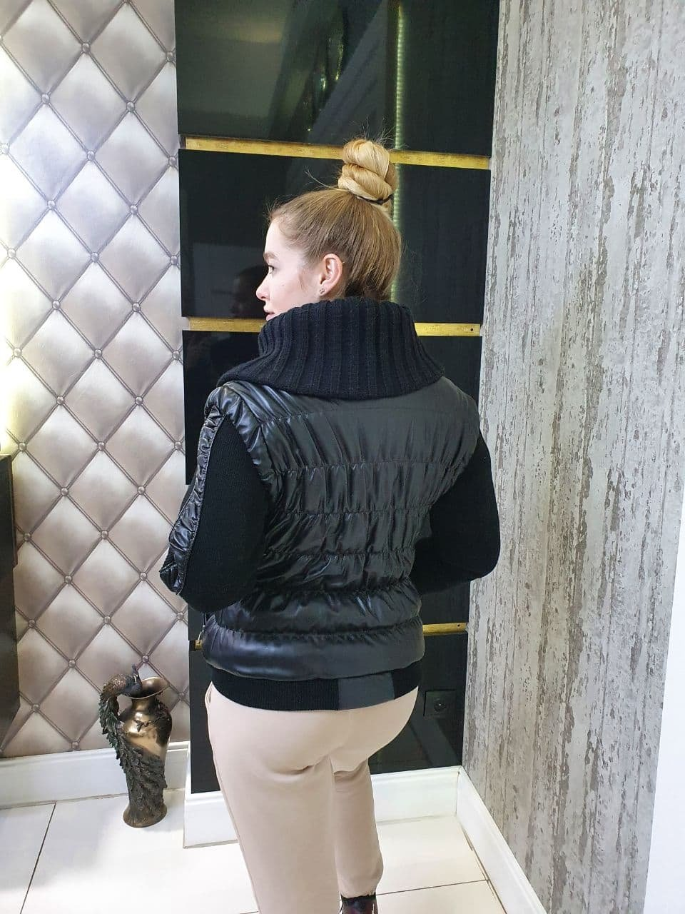 Куртка Весна Резинка 10727 АРТ. 47153 Цвет: Черный - фото 2, интернет магазин tm-modus.ru