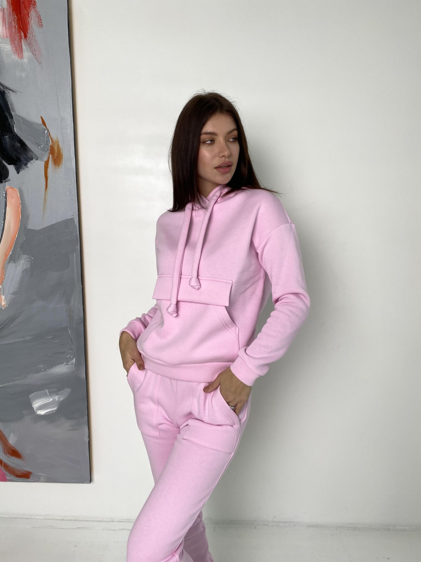 Бруклин  прогулочный костюм 3х нитка с начесом  9663 АРТ. 46923 Цвет: Розовый - фото 2, интернет магазин tm-modus.ru