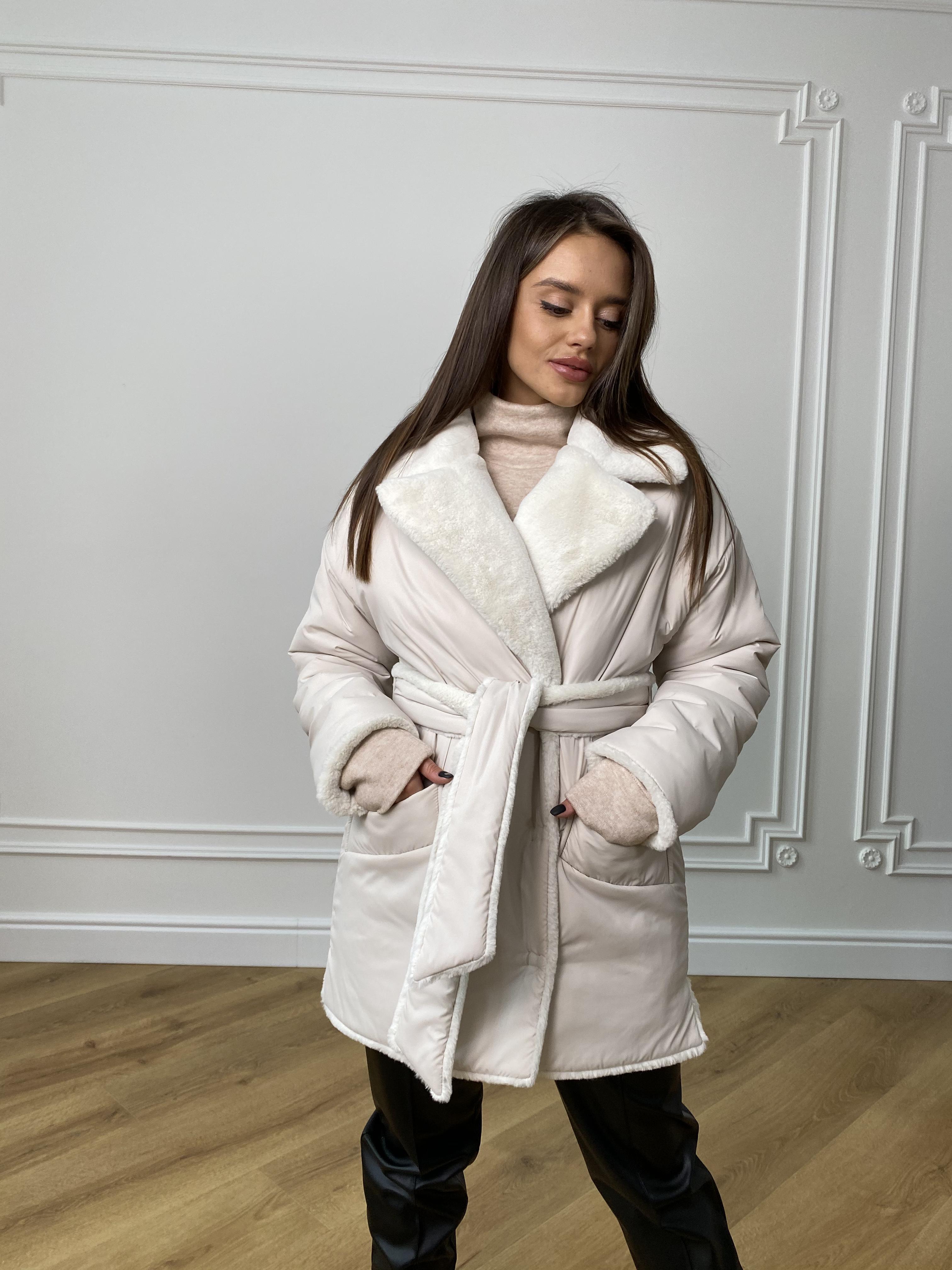 Вандер пальто мех искуственный кролик зима  10120 АРТ. 46418 Цвет: Молоко/молоко - фото 9, интернет магазин tm-modus.ru