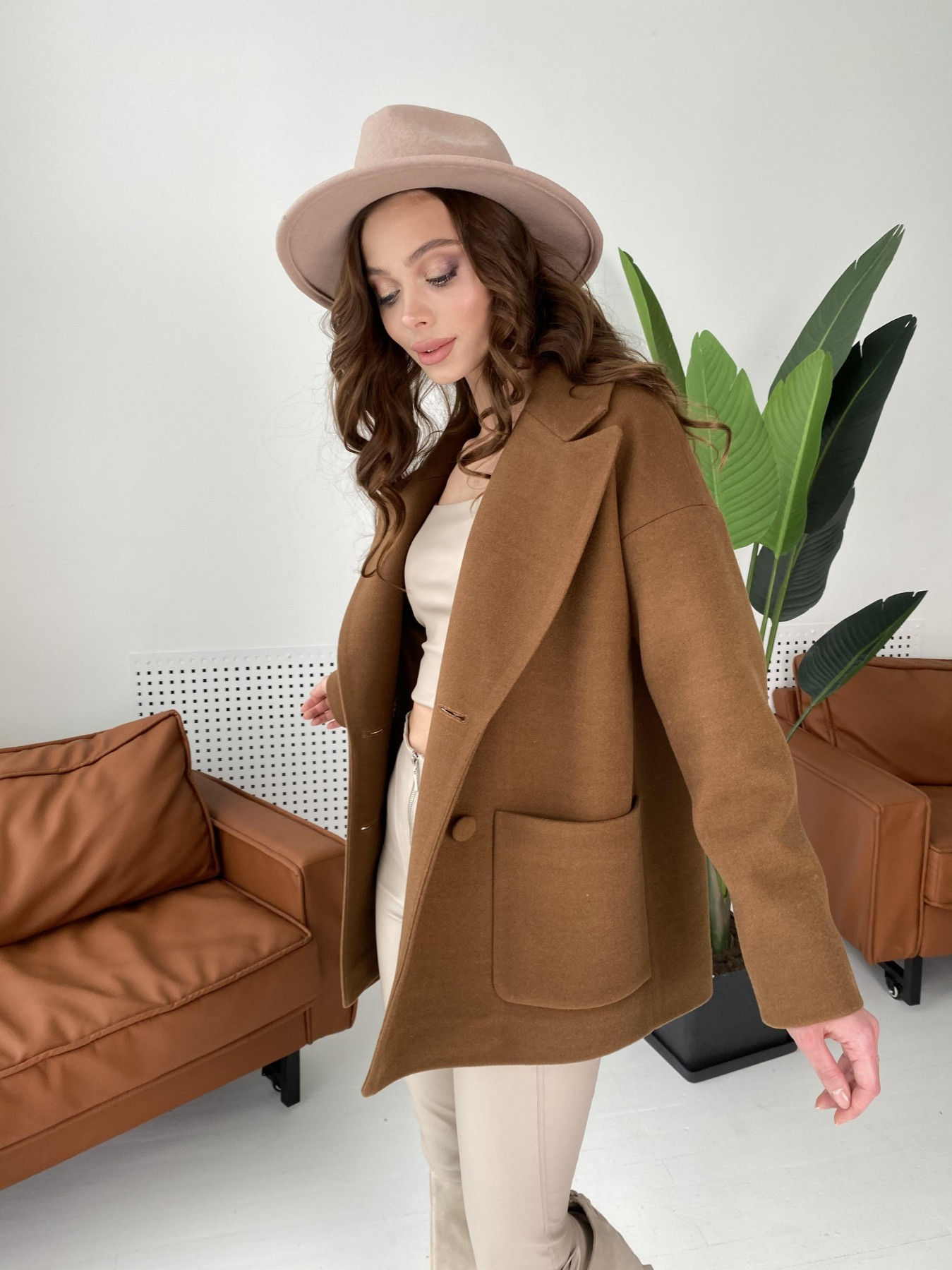 Мансера пальто кашемировое на трикотаже 10631 Цвет: Шоколад