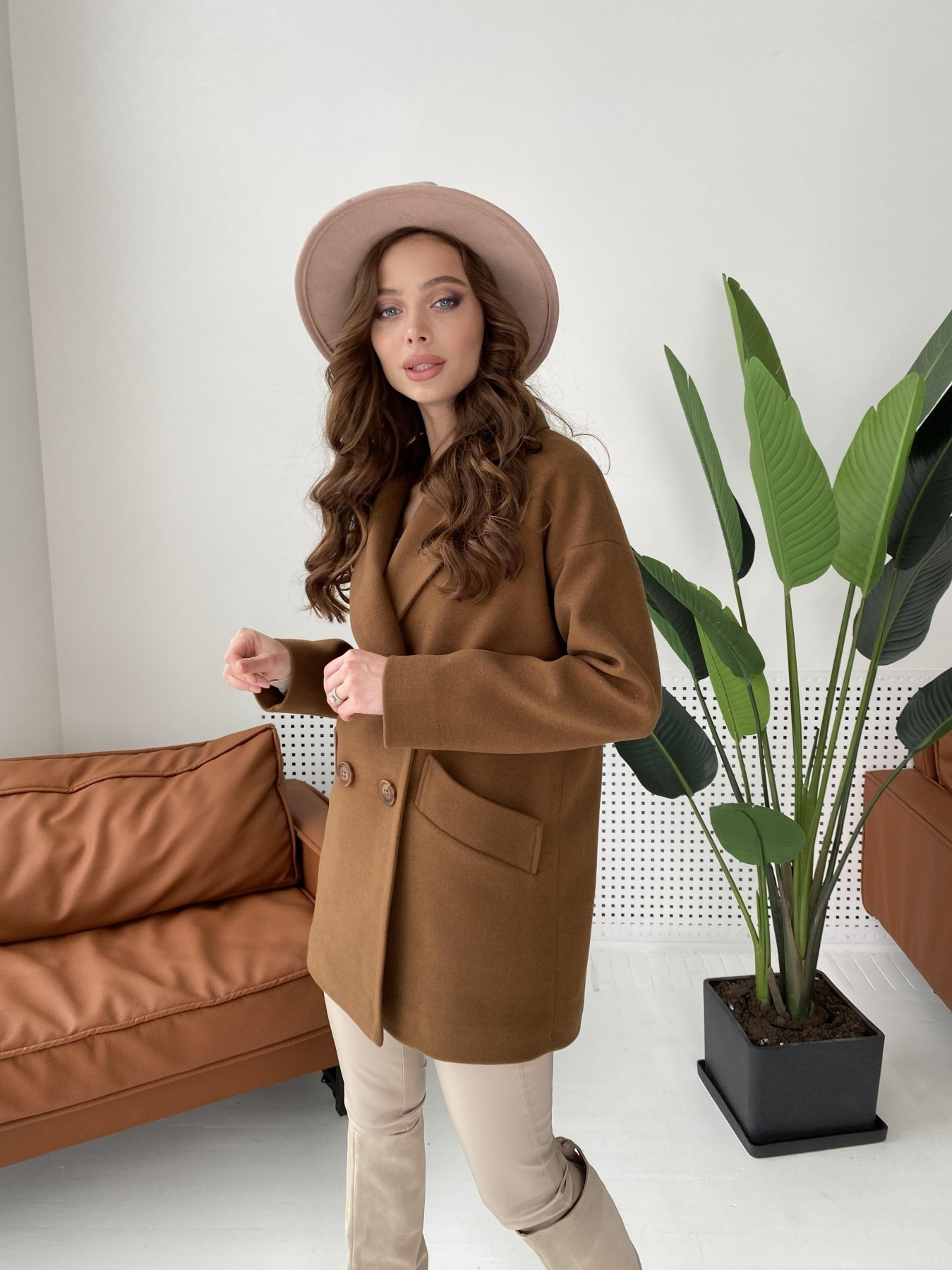 Бонд пальто кашемировое на трикотаже 10642 АРТ. 47008 Цвет: Шоколад - фото 1, интернет магазин tm-modus.ru