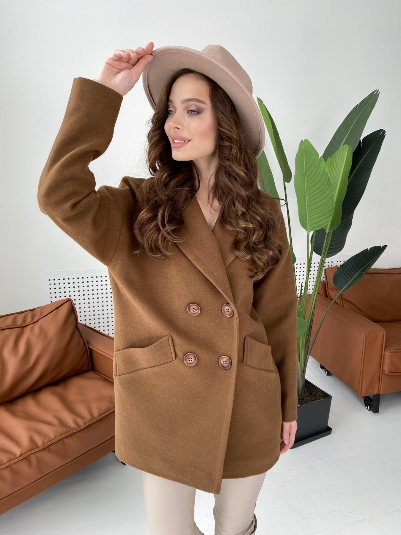 Бонд пальто кашемировое на трикотаже 10642 АРТ. 47008 Цвет: Шоколад - фото 2, интернет магазин tm-modus.ru