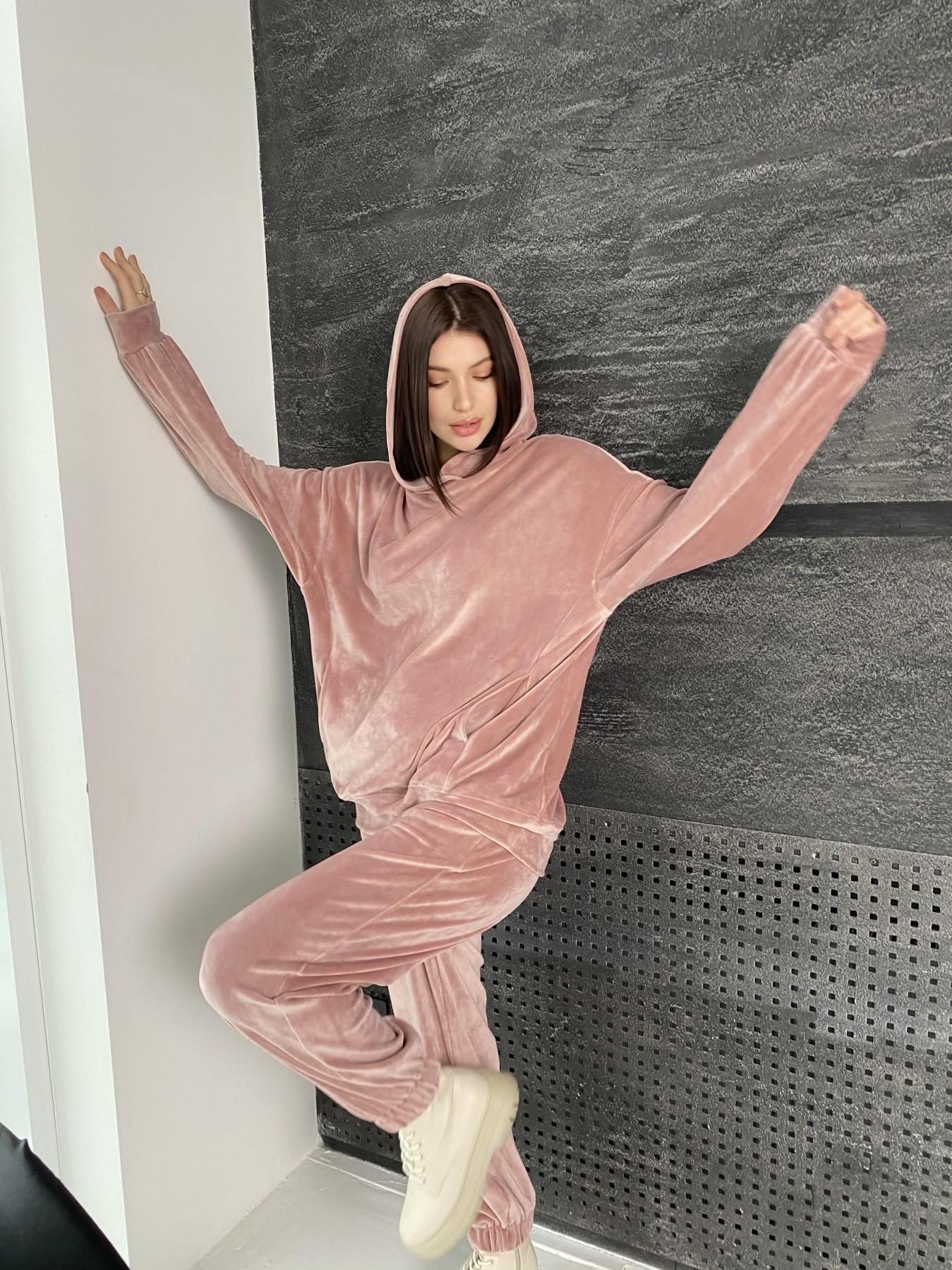 Марион Oversize  костюм из велюра 10690 АРТ. 47112 Цвет: Пудра - фото 2, интернет магазин tm-modus.ru