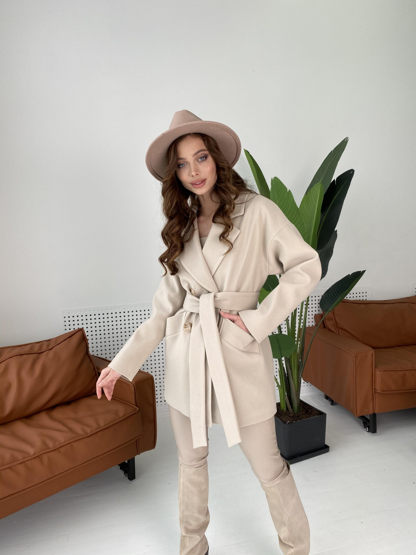 Бонд пальто из кашемира  10571 АРТ. 46992 Цвет: Бежевый Светлый - фото 5, интернет магазин tm-modus.ru