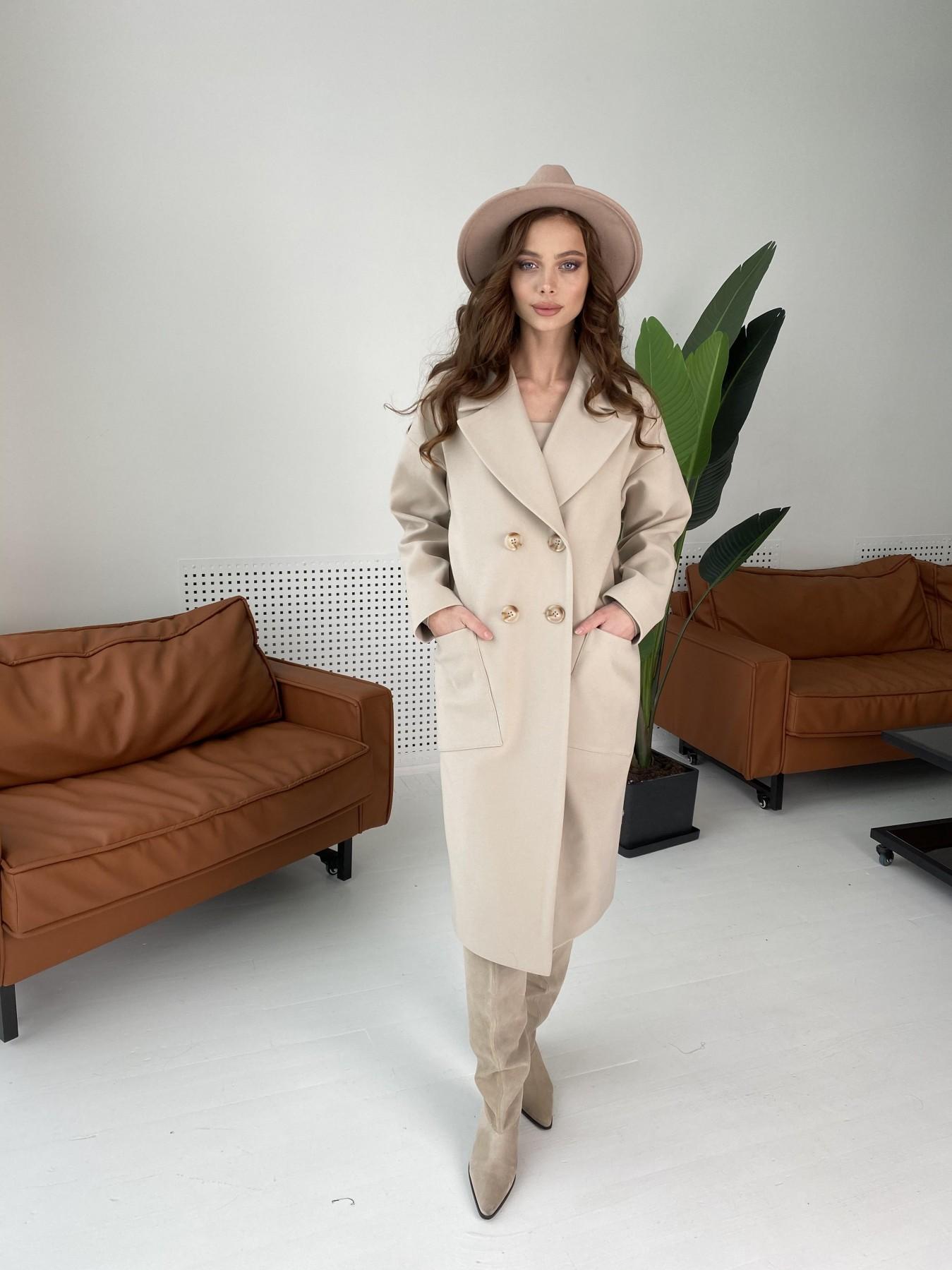 Свайп макси пальто из кашемира  10573 Цвет: Бежевый Светлый