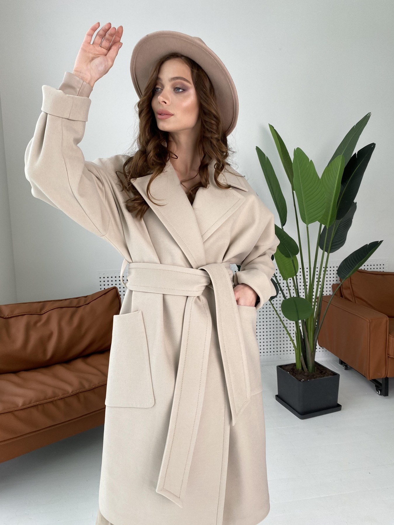 Кейт  пальто из кашемира 10539 АРТ. 46990 Цвет: Бежевый Светлый - фото 9, интернет магазин tm-modus.ru