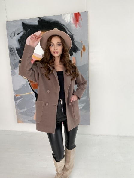 Мансера пальто кашемировое на трикотаже 10631 Цвет: Кофе