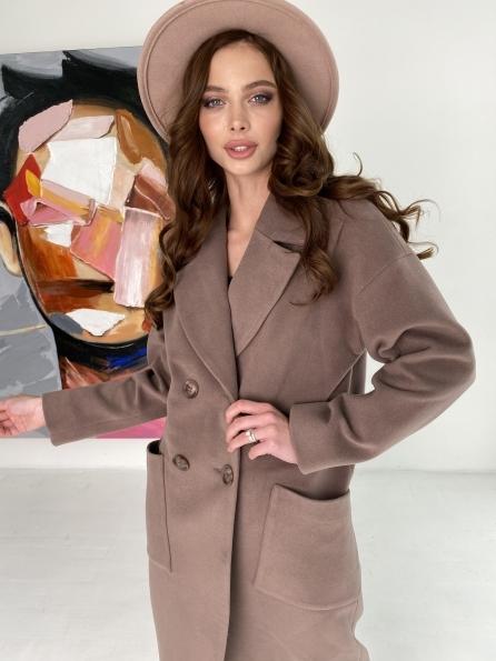 """Купить """"Свайп макси"""" пальто из кашемира на трикотаже 10619 оптом и в розницу"""