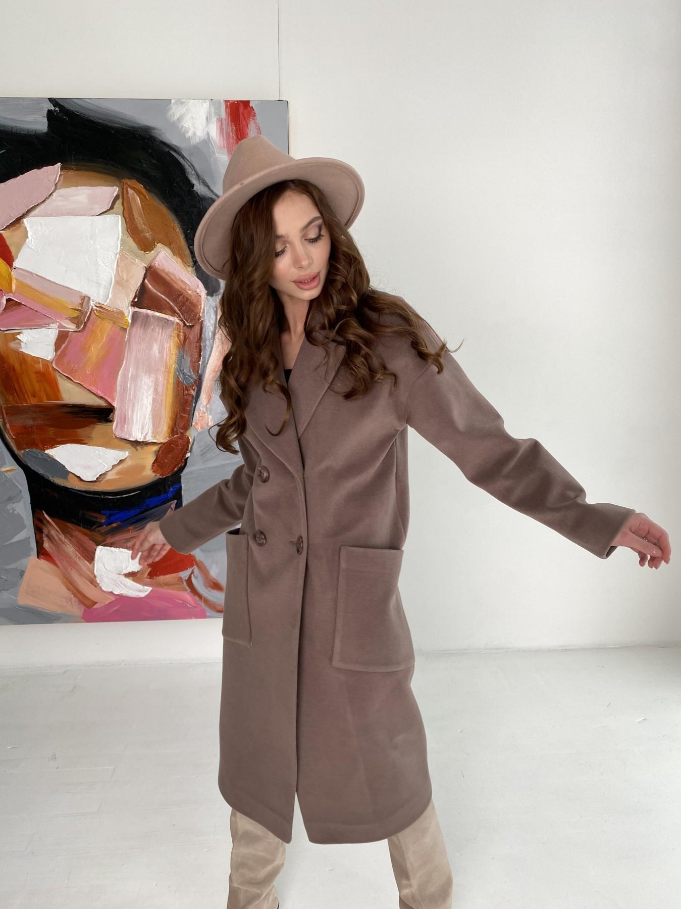 Свайп макси пальто из кашемира на трикотаже 10619 АРТ. 46998 Цвет: Кофе - фото 2, интернет магазин tm-modus.ru