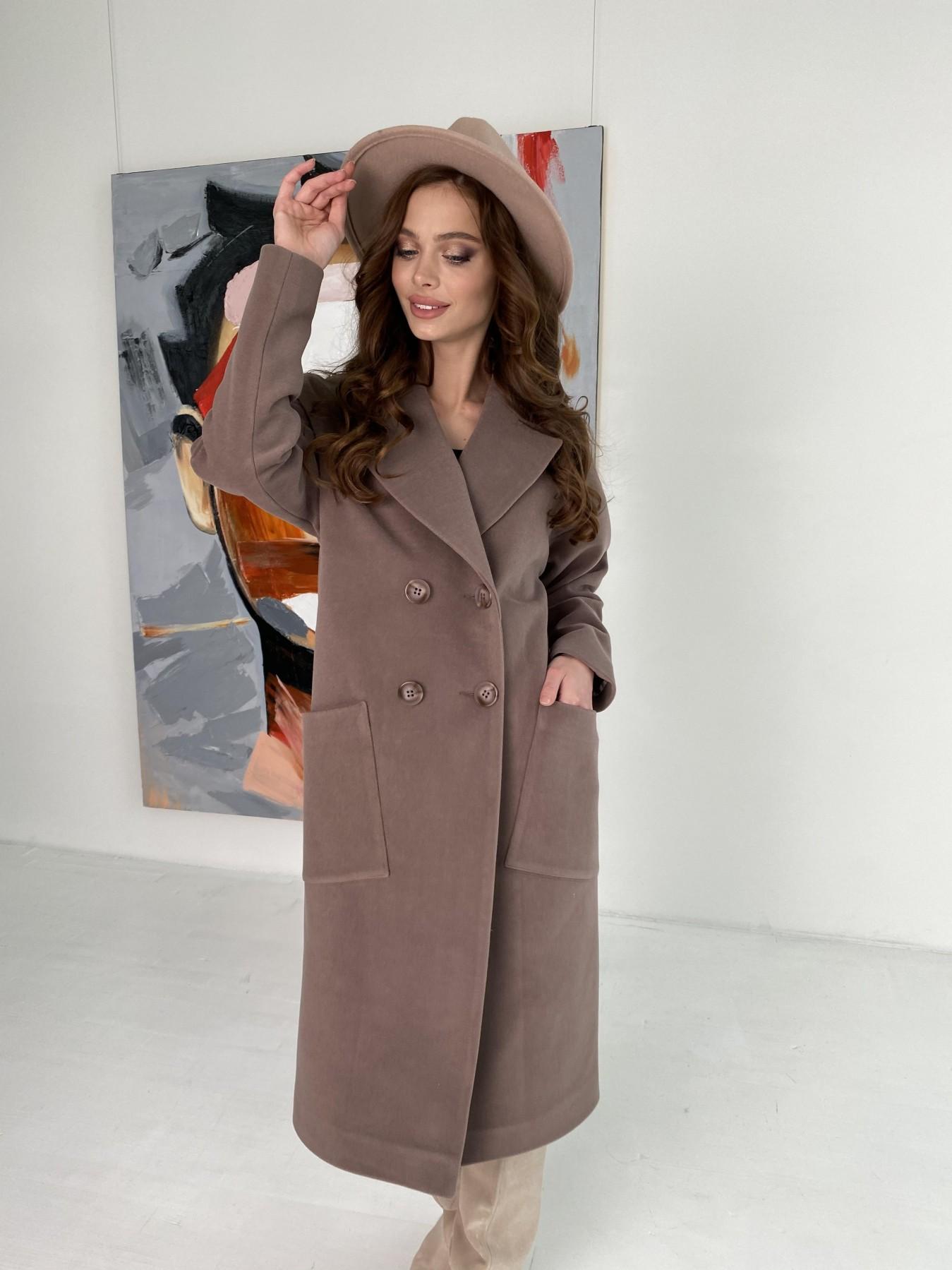 Свайп макси пальто из кашемира на трикотаже 10619 АРТ. 46998 Цвет: Кофе - фото 3, интернет магазин tm-modus.ru