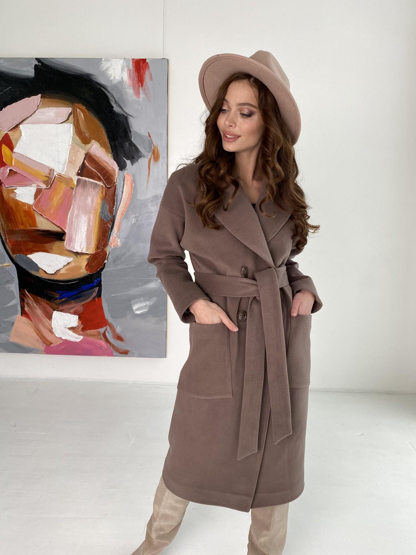 Свайп макси пальто из кашемира на трикотаже 10619 АРТ. 46998 Цвет: Кофе - фото 4, интернет магазин tm-modus.ru