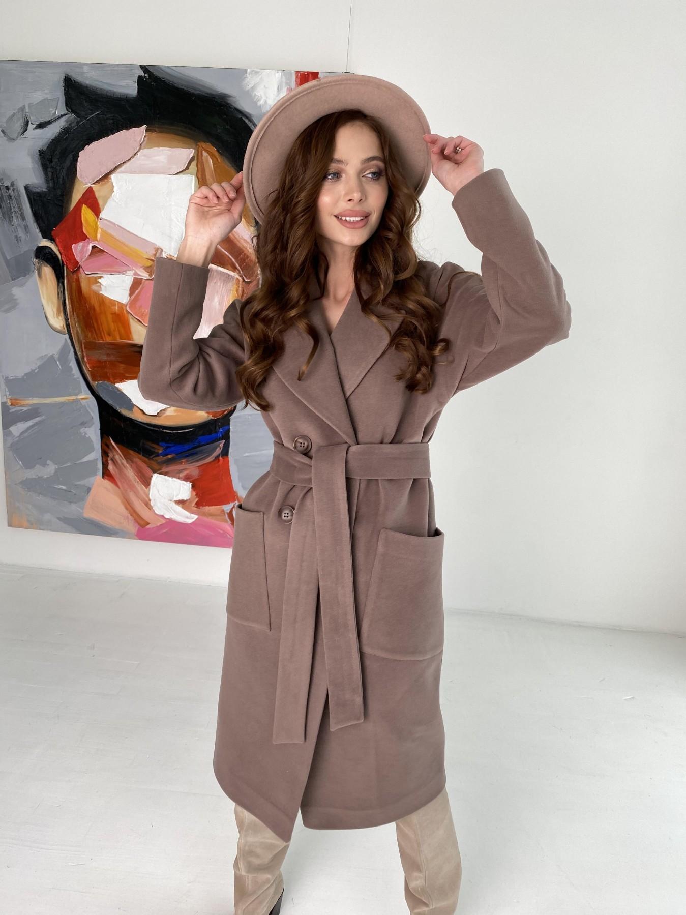 Купить демисезонное пальто от ТМ Modus Свайп макси пальто из кашемира на трикотаже 10619