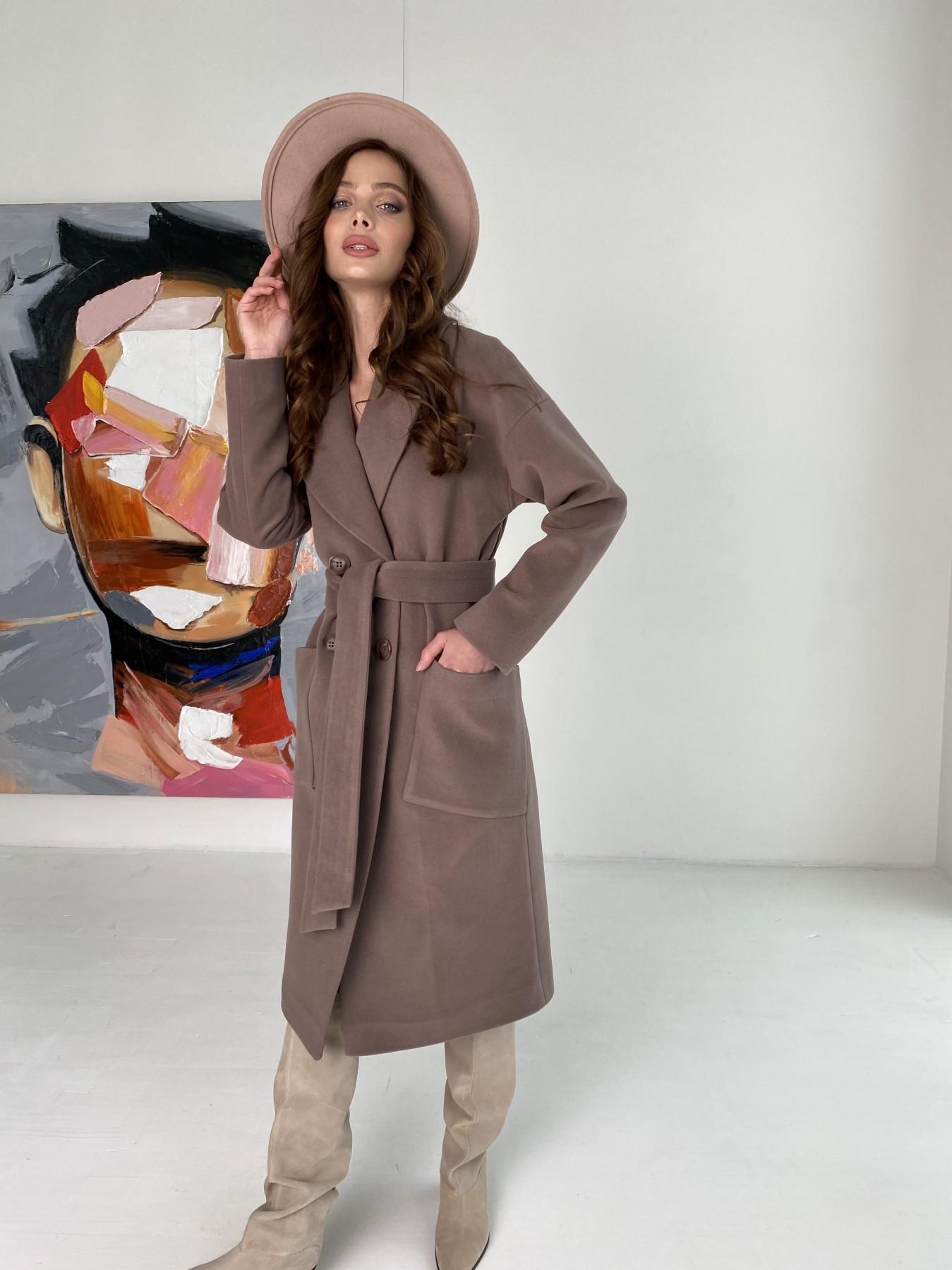 Свайп макси пальто из кашемира на трикотаже 10619 АРТ. 46998 Цвет: Кофе - фото 6, интернет магазин tm-modus.ru