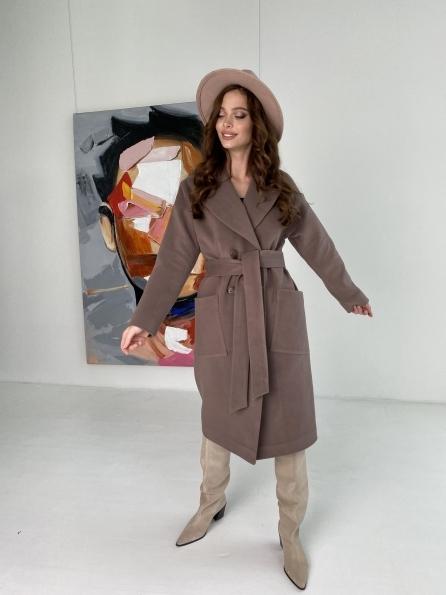 Свайп макси пальто из кашемира на трикотаже 10619 Цвет: Кофе