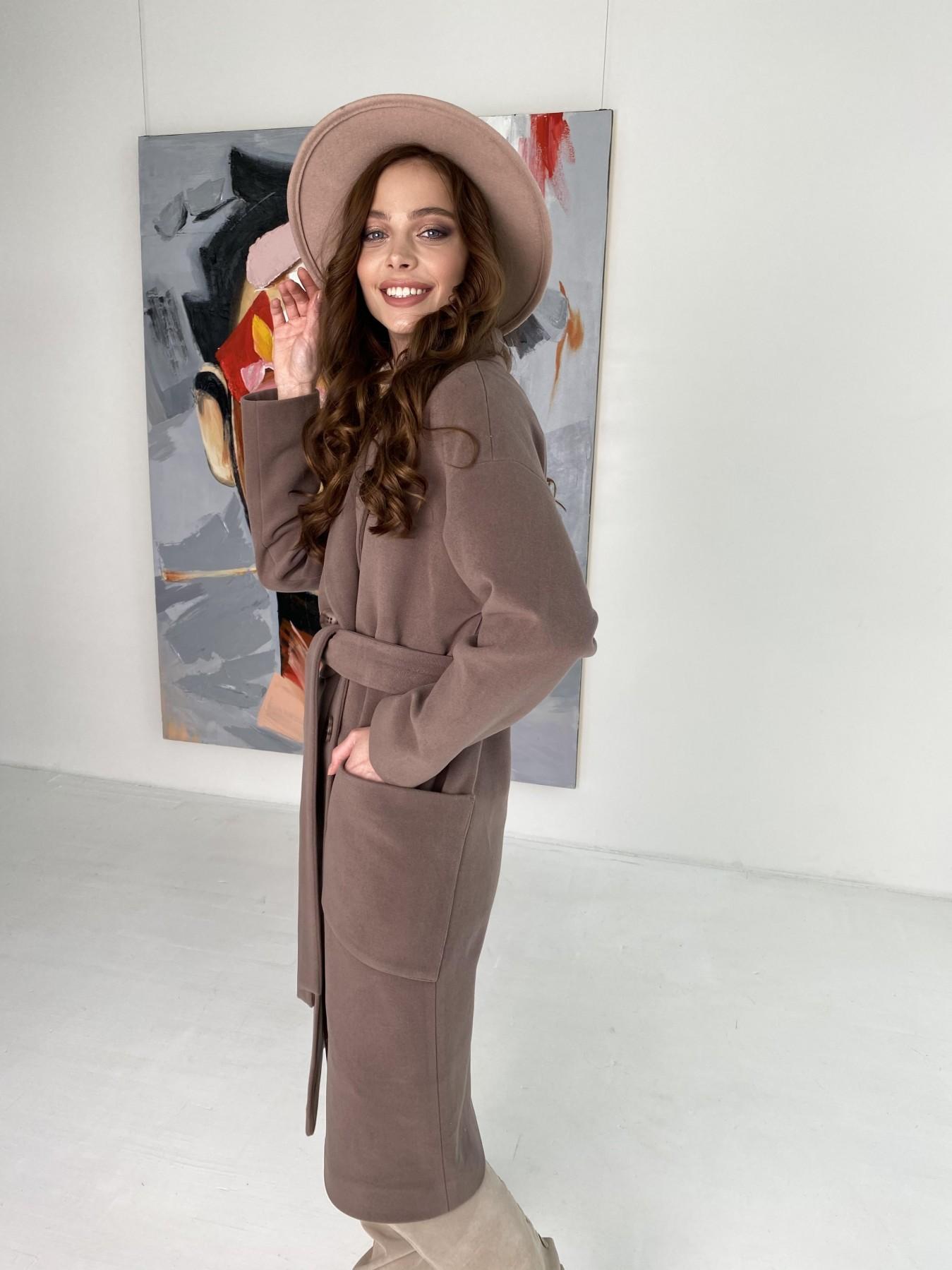 Свайп макси пальто из кашемира на трикотаже 10619 АРТ. 46998 Цвет: Кофе - фото 8, интернет магазин tm-modus.ru