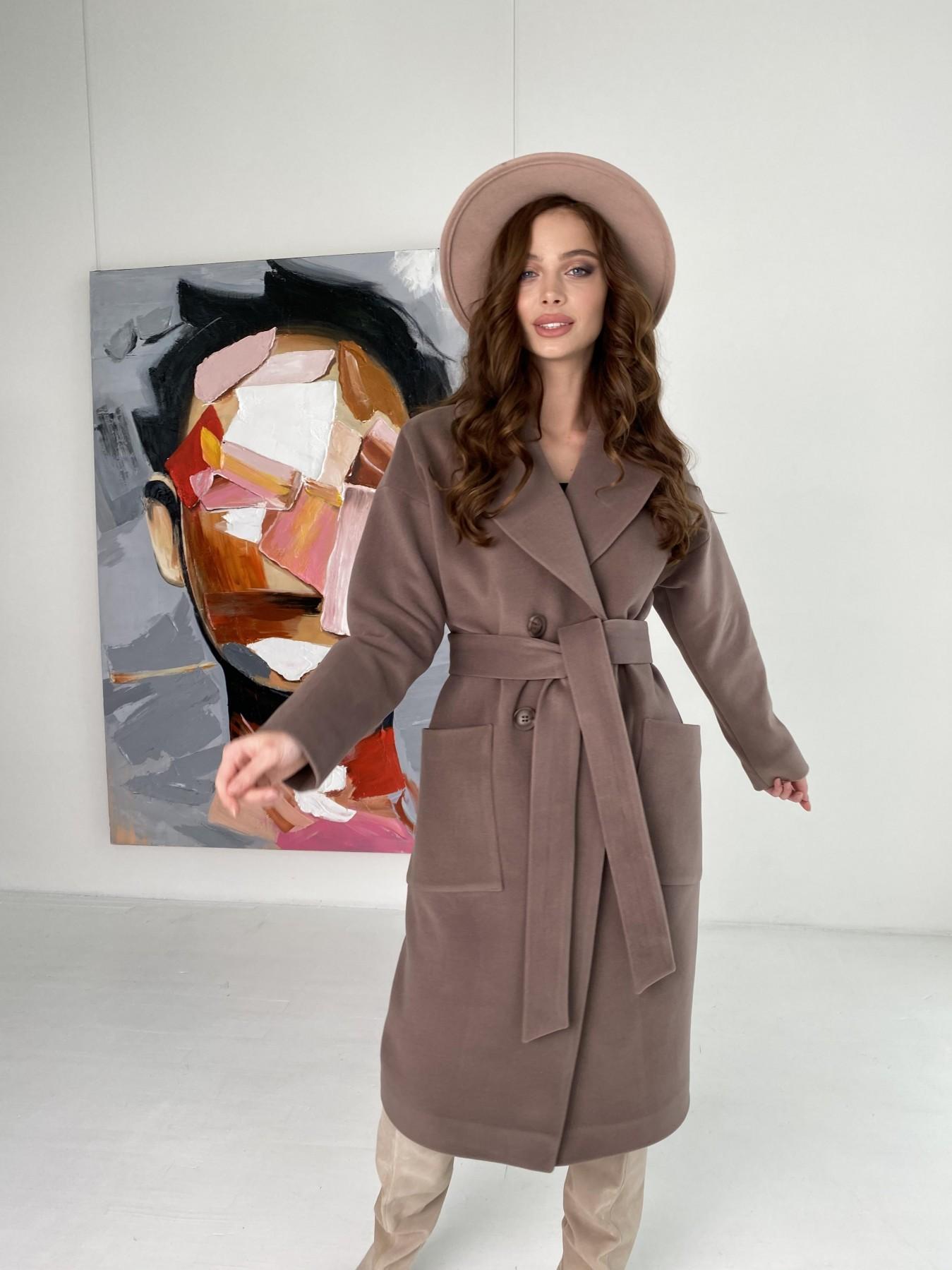 Свайп макси пальто из кашемира на трикотаже 10619 АРТ. 46998 Цвет: Кофе - фото 9, интернет магазин tm-modus.ru