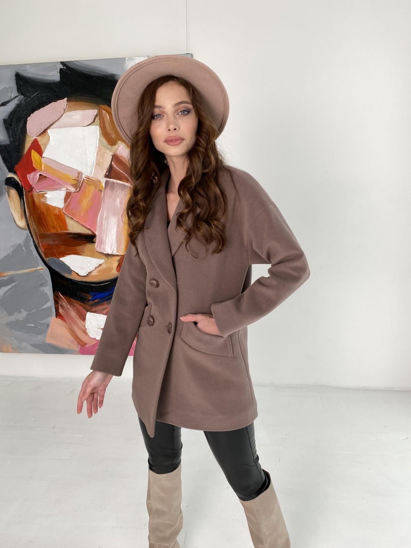 Бонд пальто кашемировое на трикотаже 10642 АРТ. 47009 Цвет: Кофе - фото 1, интернет магазин tm-modus.ru