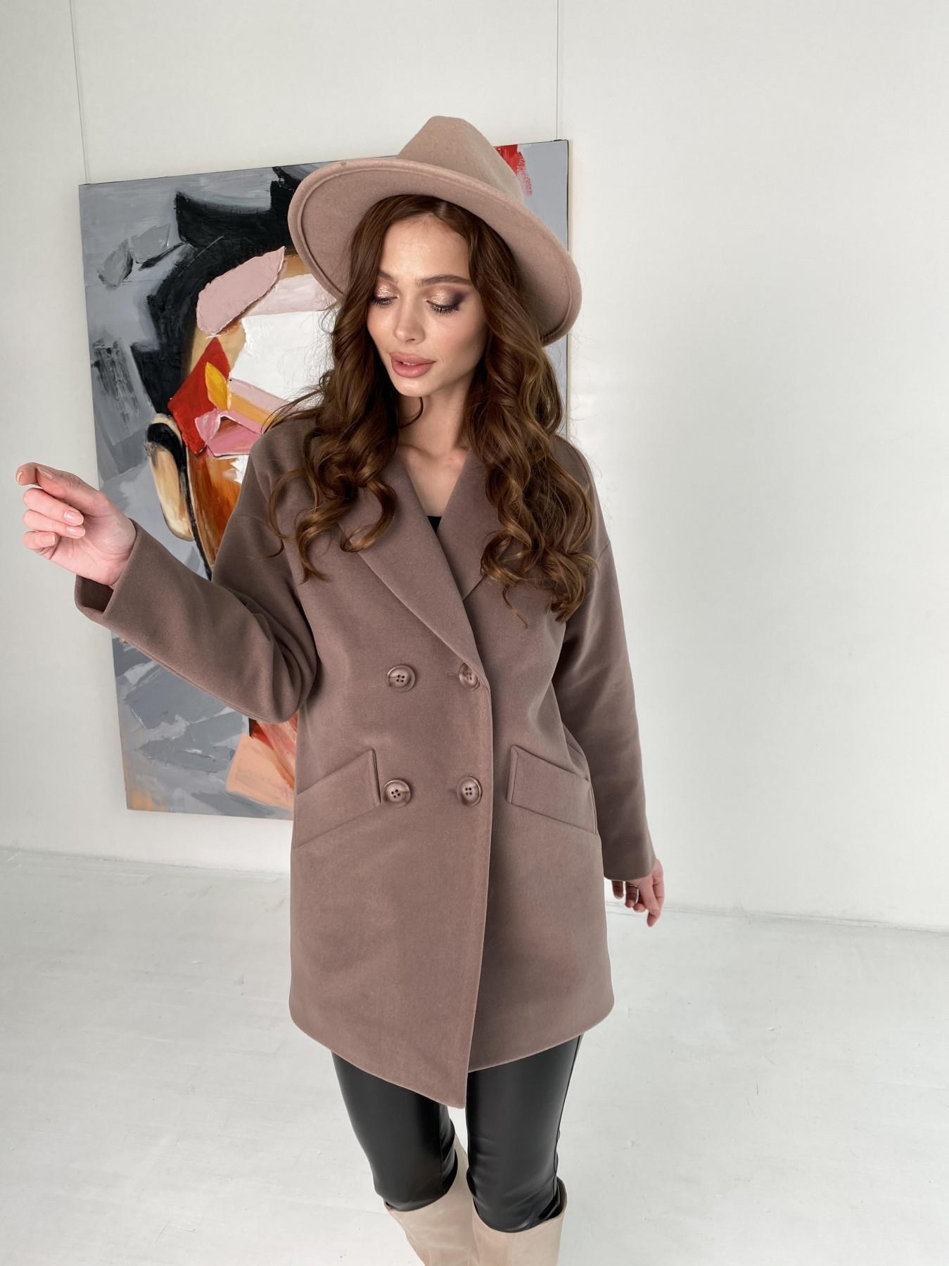 Бонд пальто кашемировое на трикотаже 10642 АРТ. 47009 Цвет: Кофе - фото 2, интернет магазин tm-modus.ru