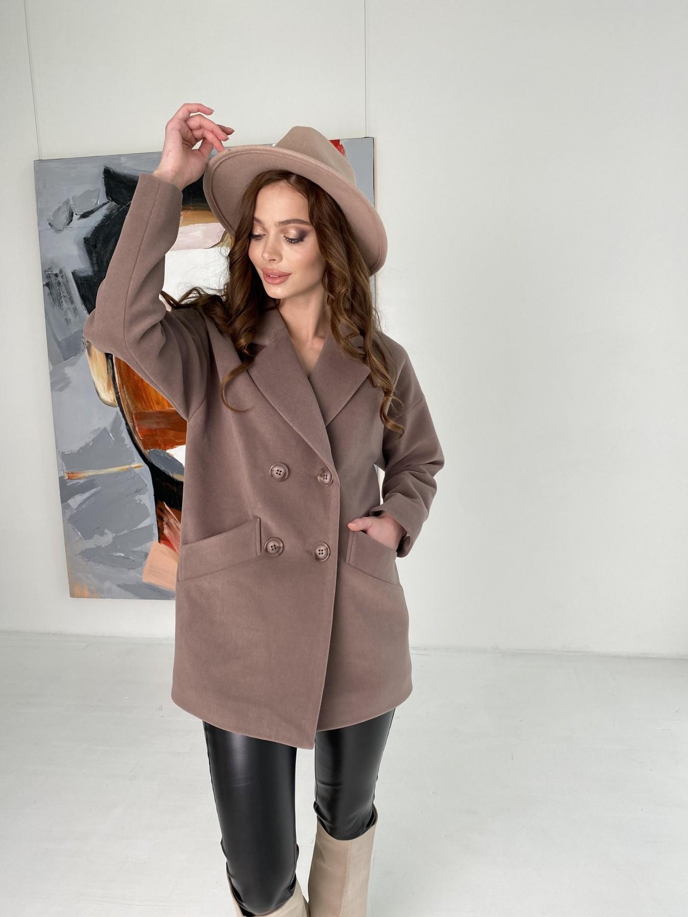 Бонд пальто кашемировое на трикотаже 10642 АРТ. 47009 Цвет: Кофе - фото 4, интернет магазин tm-modus.ru