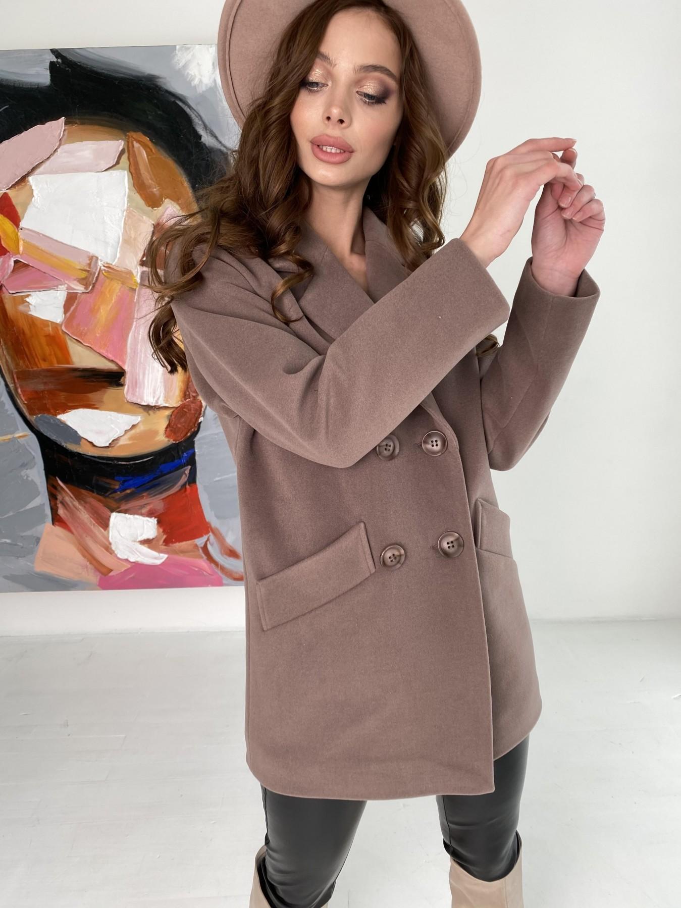 Бонд пальто кашемировое на трикотаже 10642 АРТ. 47009 Цвет: Кофе - фото 5, интернет магазин tm-modus.ru