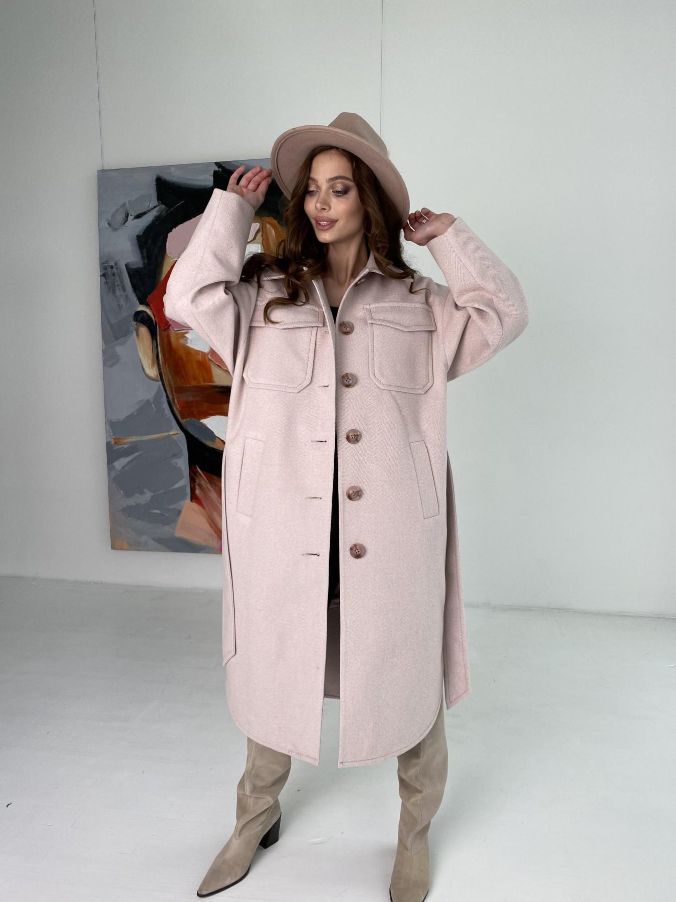Ола  пальто в мелкую елочку из пальтовой ткани 10648 АРТ. 46989 Цвет: Пудра - фото 1, интернет магазин tm-modus.ru