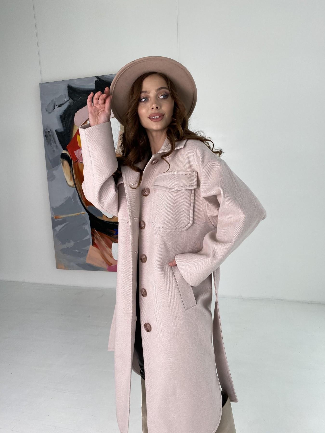 Ола  пальто в мелкую елочку из пальтовой ткани 10648 АРТ. 46989 Цвет: Пудра - фото 2, интернет магазин tm-modus.ru