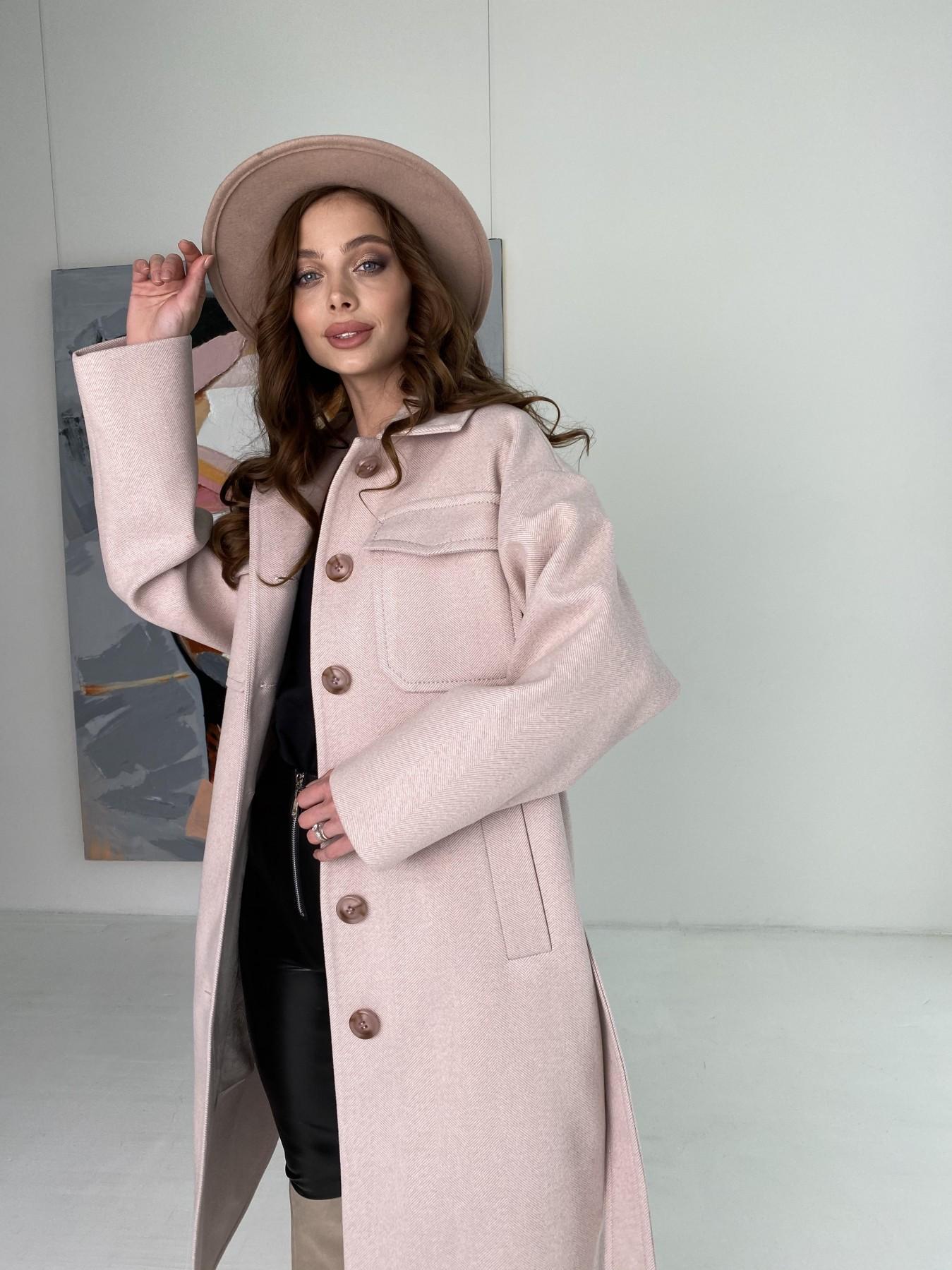 Ола  пальто в мелкую елочку из пальтовой ткани 10648 АРТ. 46989 Цвет: Пудра - фото 3, интернет магазин tm-modus.ru