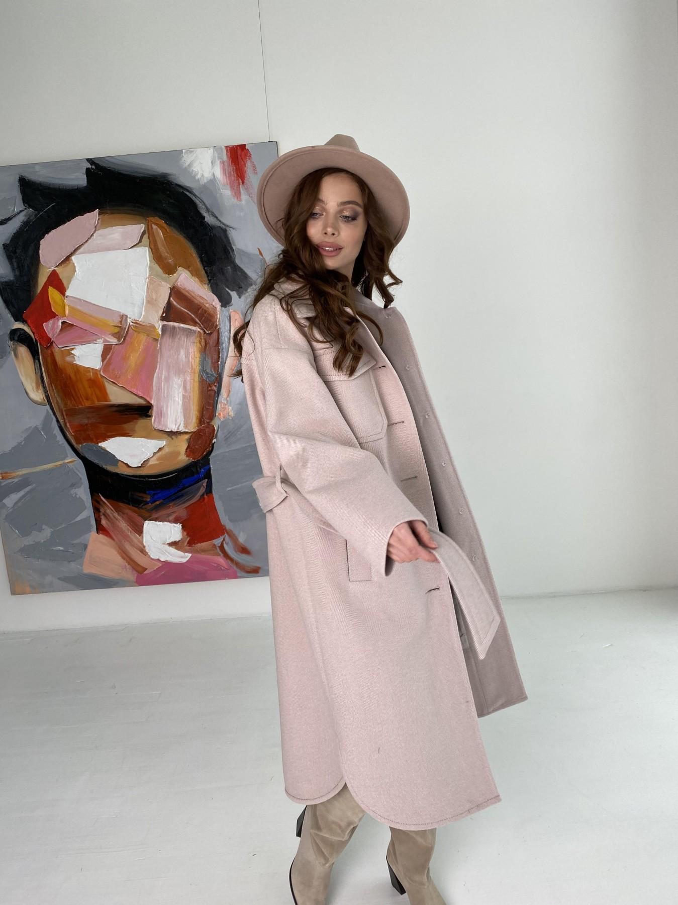 Ола  пальто в мелкую елочку из пальтовой ткани 10648 АРТ. 46989 Цвет: Пудра - фото 4, интернет магазин tm-modus.ru