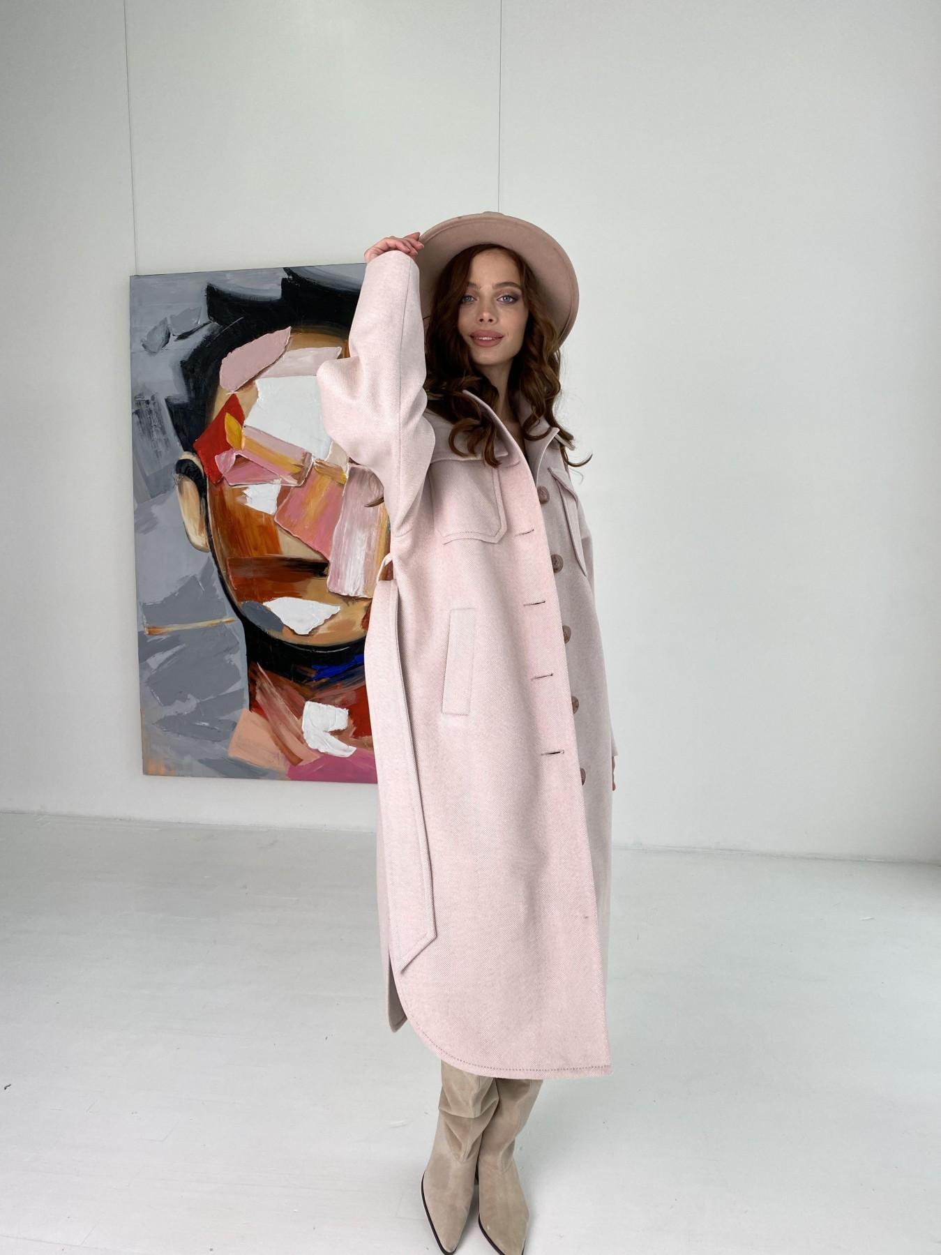 Ола  пальто в мелкую елочку из пальтовой ткани 10648 АРТ. 46989 Цвет: Пудра - фото 5, интернет магазин tm-modus.ru