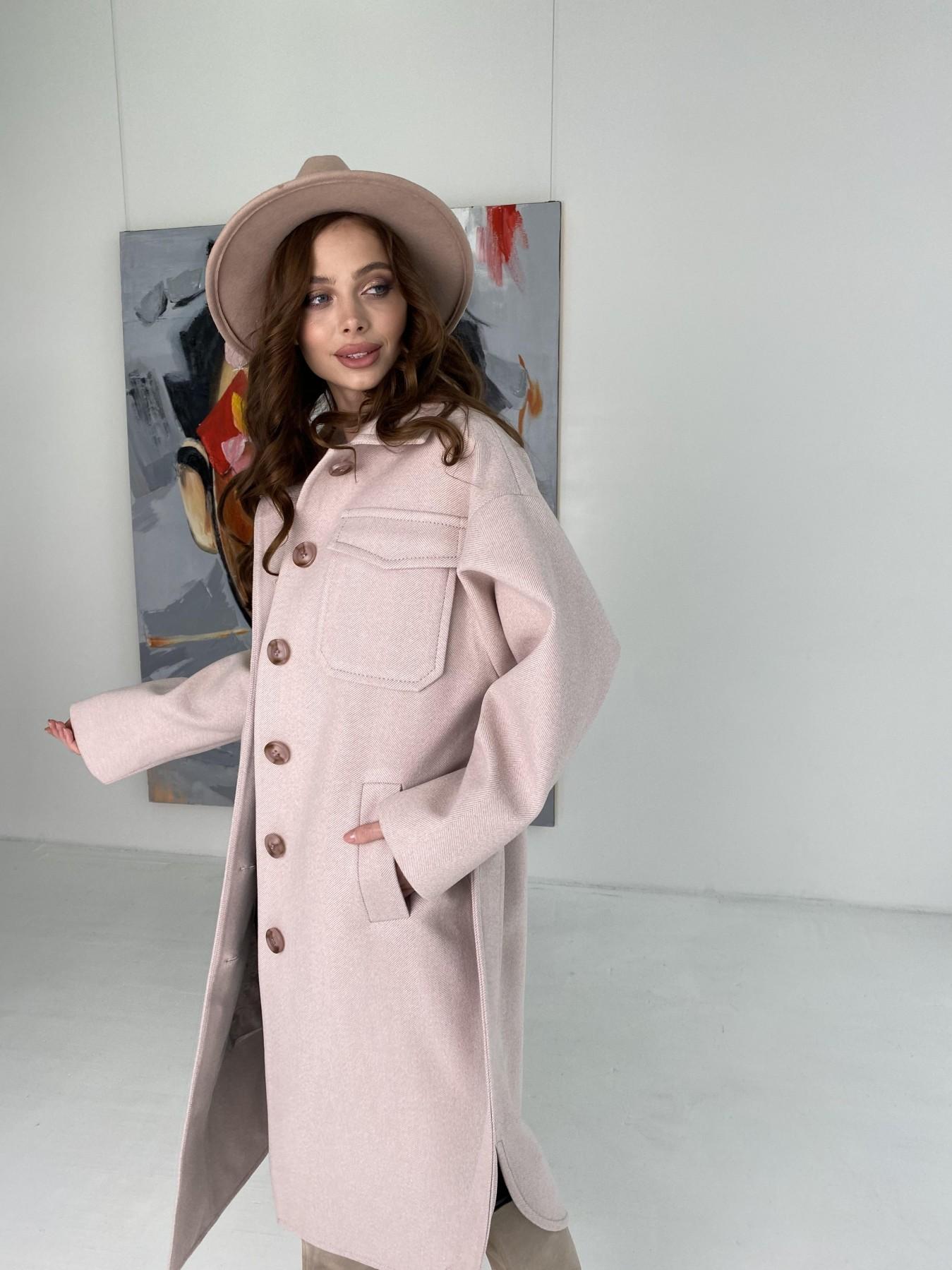 Ола  пальто в мелкую елочку из пальтовой ткани 10648 АРТ. 46989 Цвет: Пудра - фото 6, интернет магазин tm-modus.ru